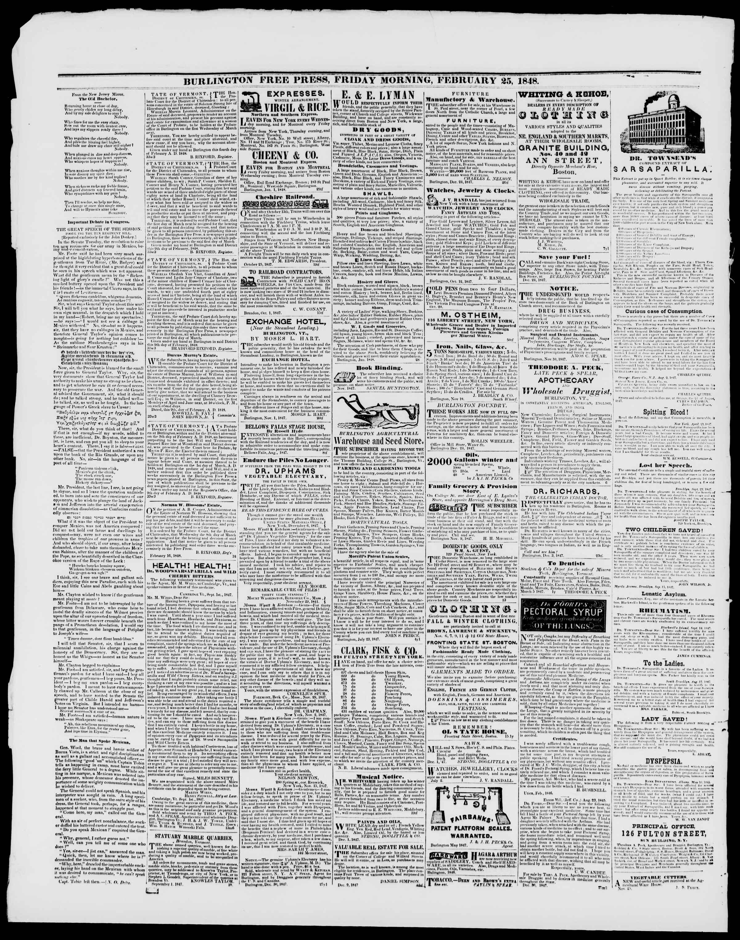 Newspaper of Burlington Free Press dated 25 Şubat 1848 Page 4