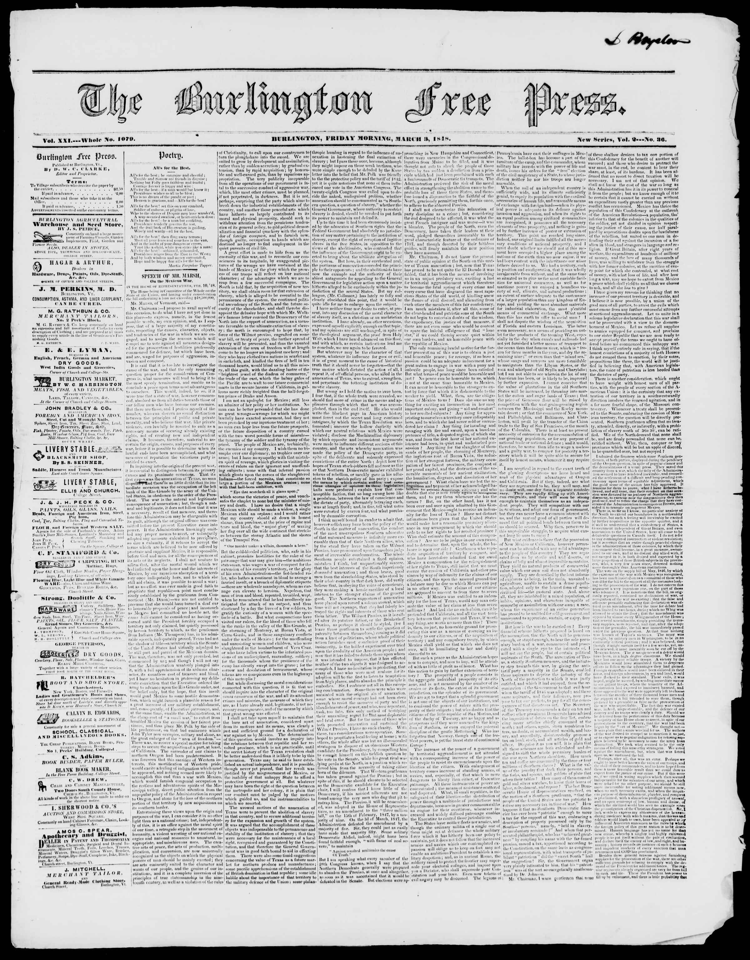 Newspaper of Burlington Free Press dated March 3, 1848 Page 1