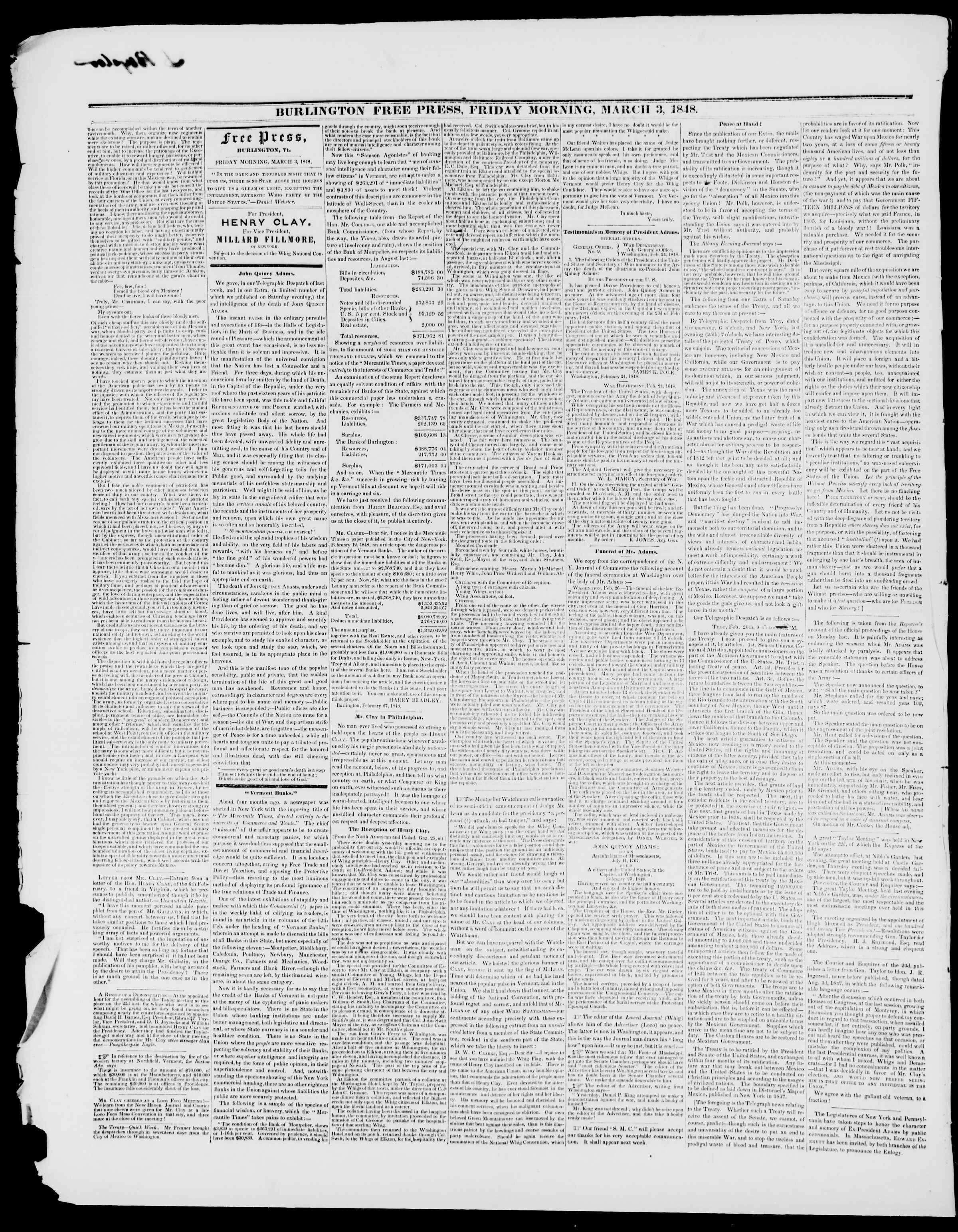 Newspaper of Burlington Free Press dated March 3, 1848 Page 2