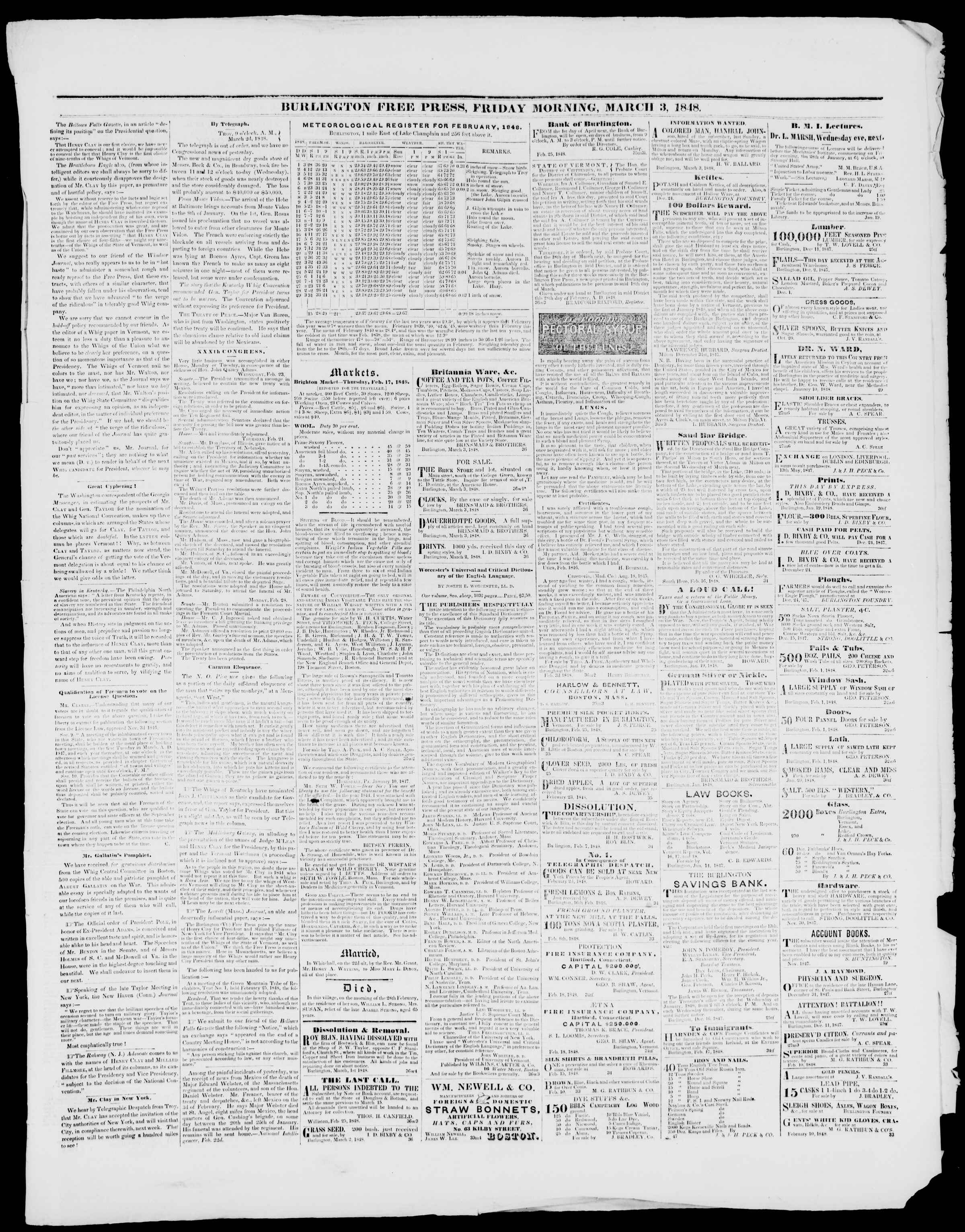 Newspaper of Burlington Free Press dated March 3, 1848 Page 3