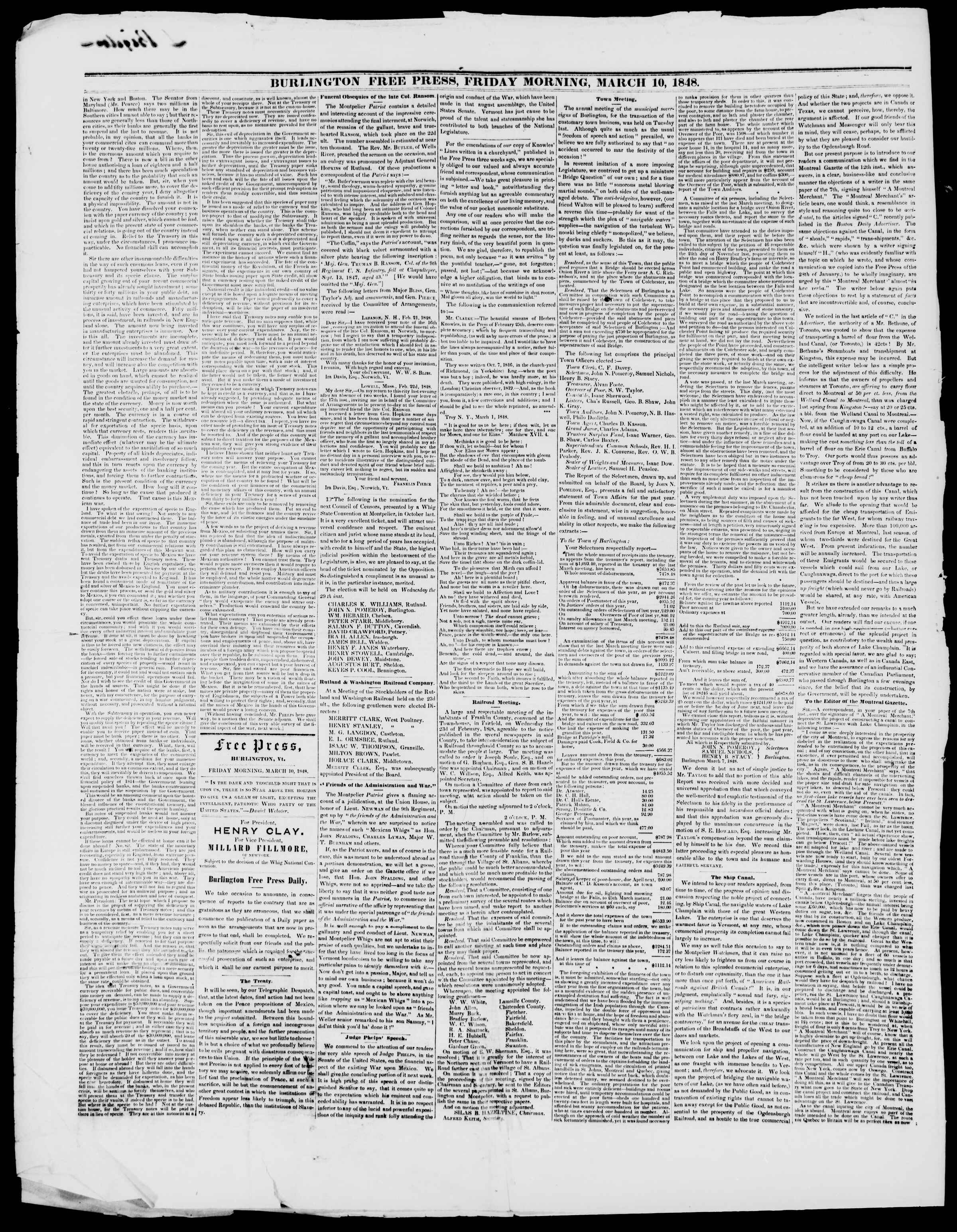 Newspaper of Burlington Free Press dated March 10, 1848 Page 2