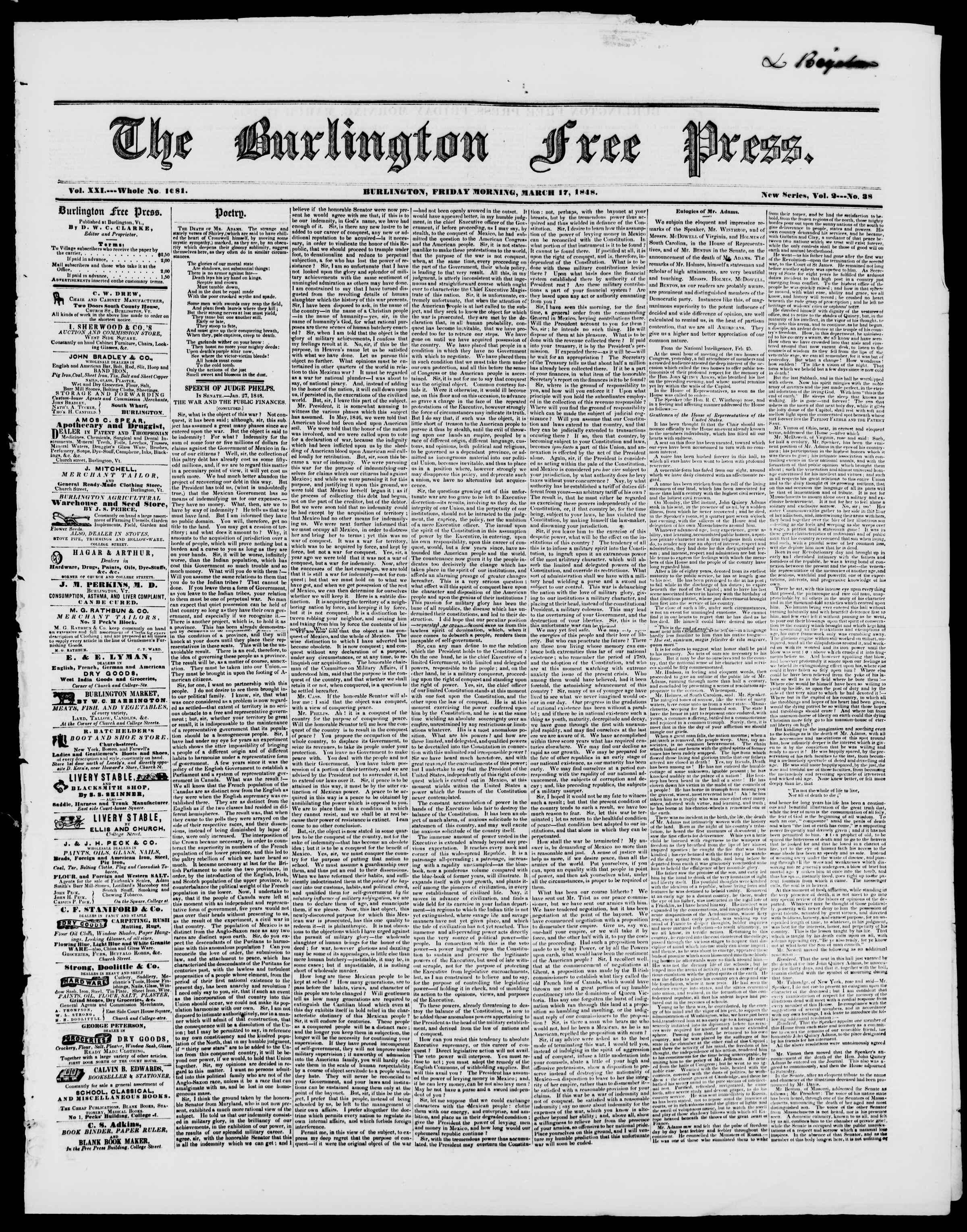 17 Mart 1848 tarihli Burlington Free Press Gazetesi Sayfa 1
