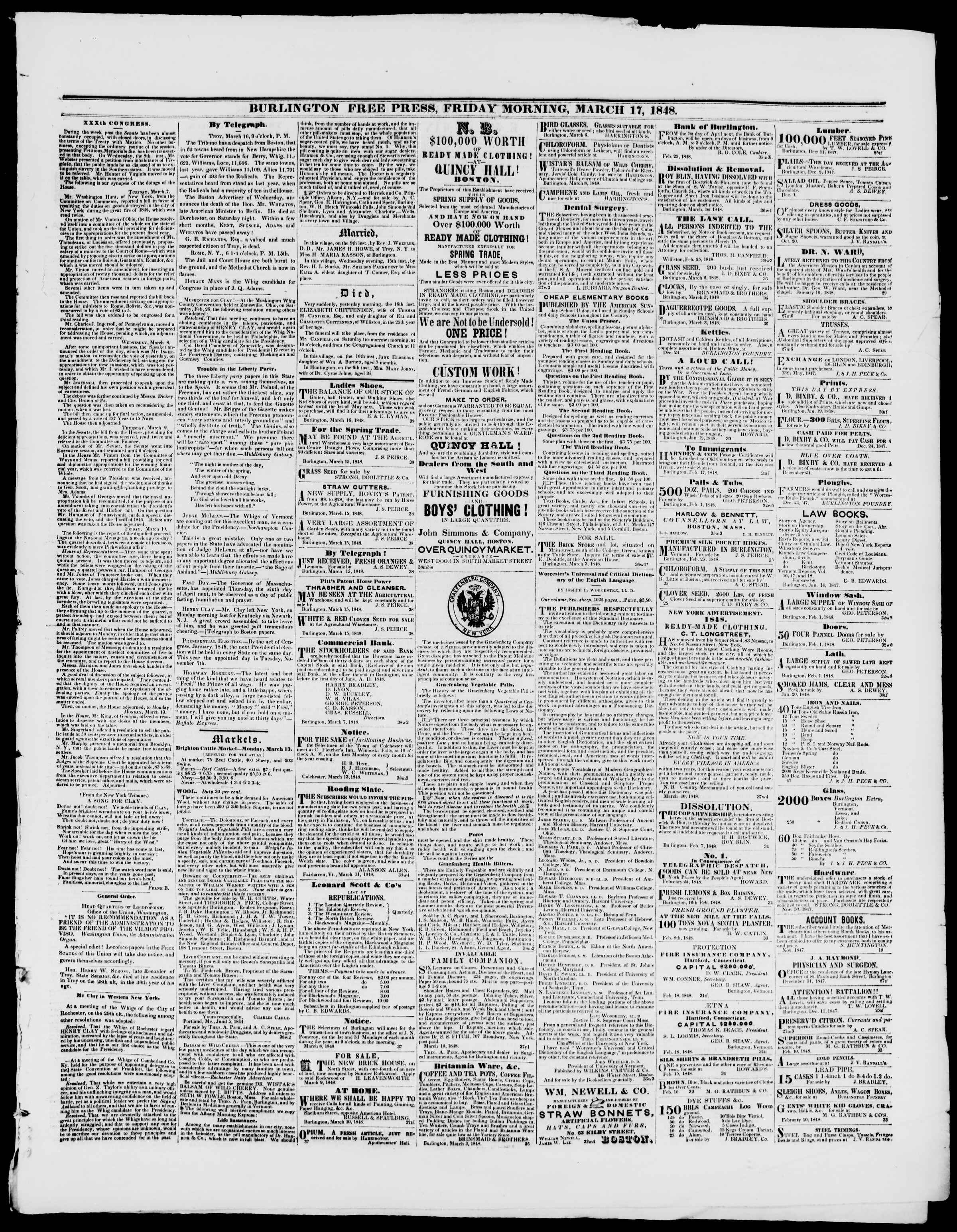 Newspaper of Burlington Free Press dated March 17, 1848 Page 3