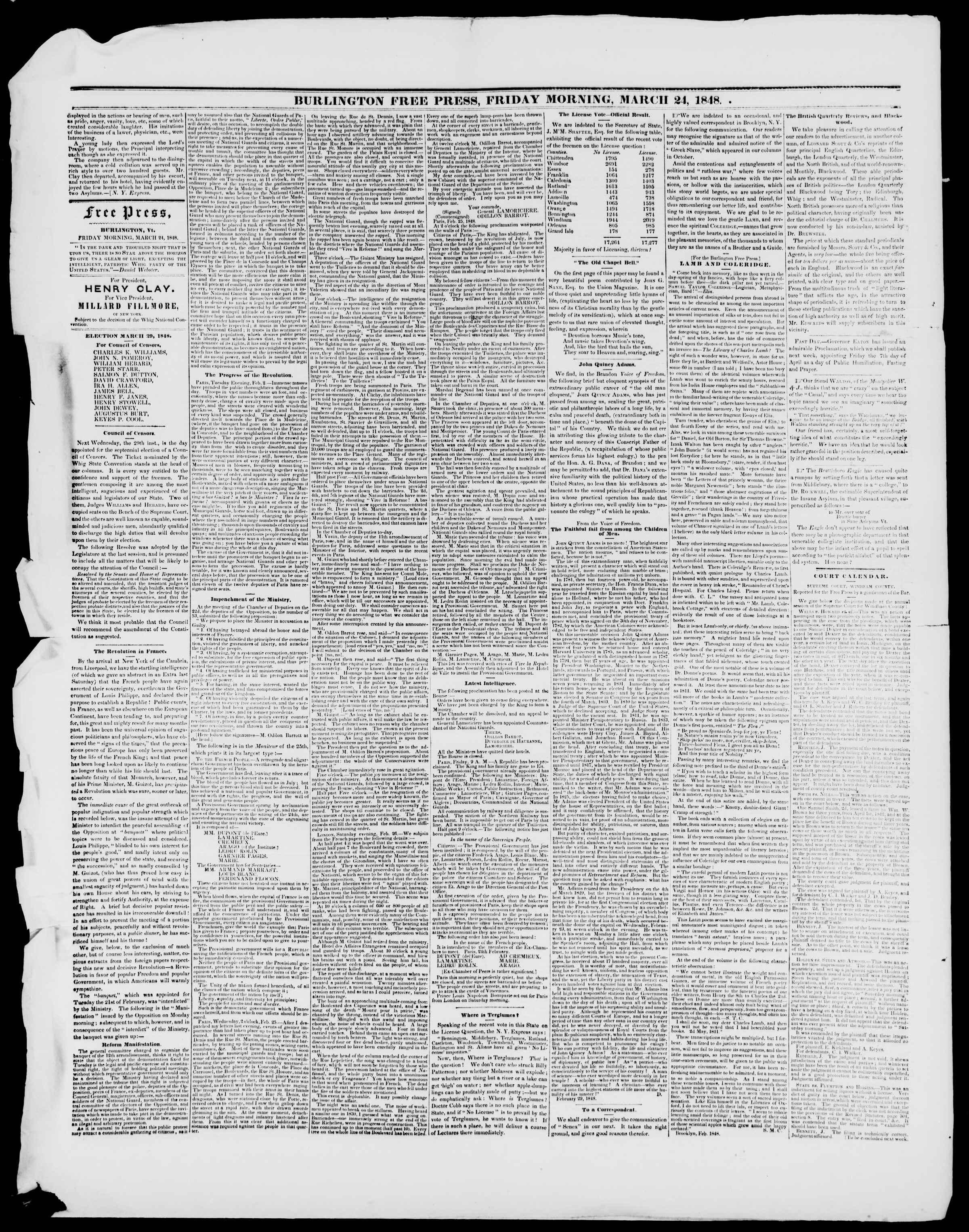 Newspaper of Burlington Free Press dated March 24, 1848 Page 2