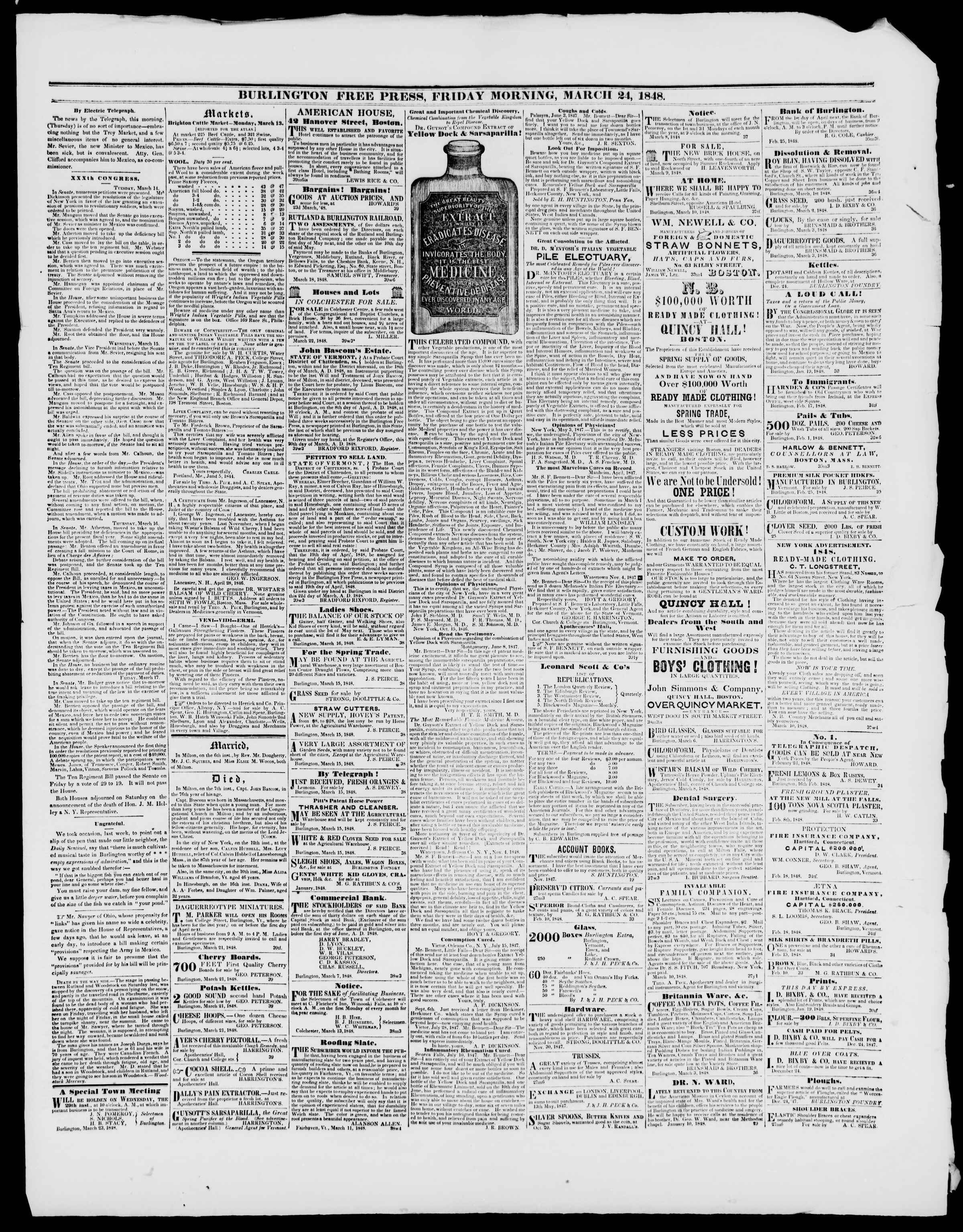 Newspaper of Burlington Free Press dated March 24, 1848 Page 3