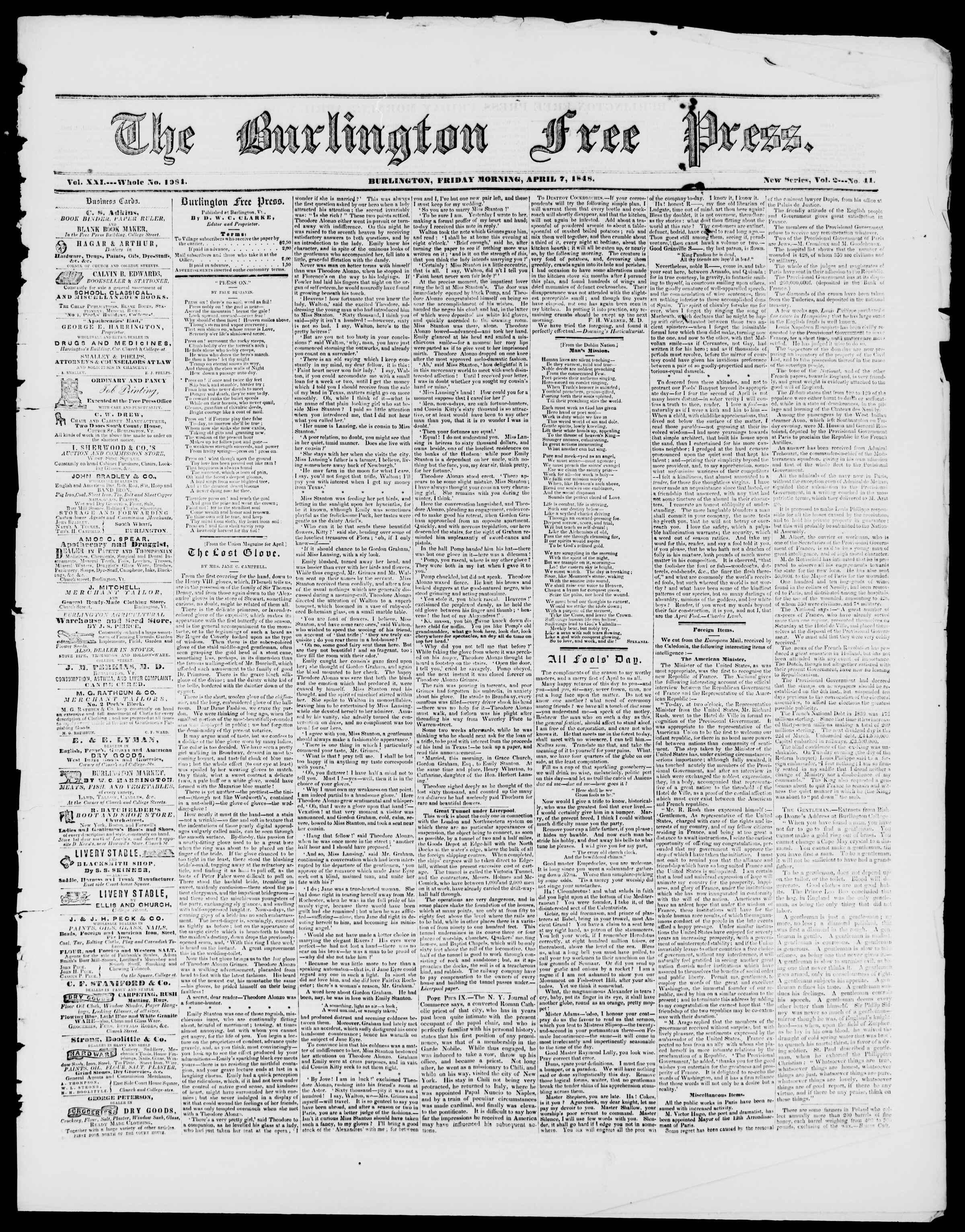 Newspaper of Burlington Free Press dated April 7, 1848 Page 1