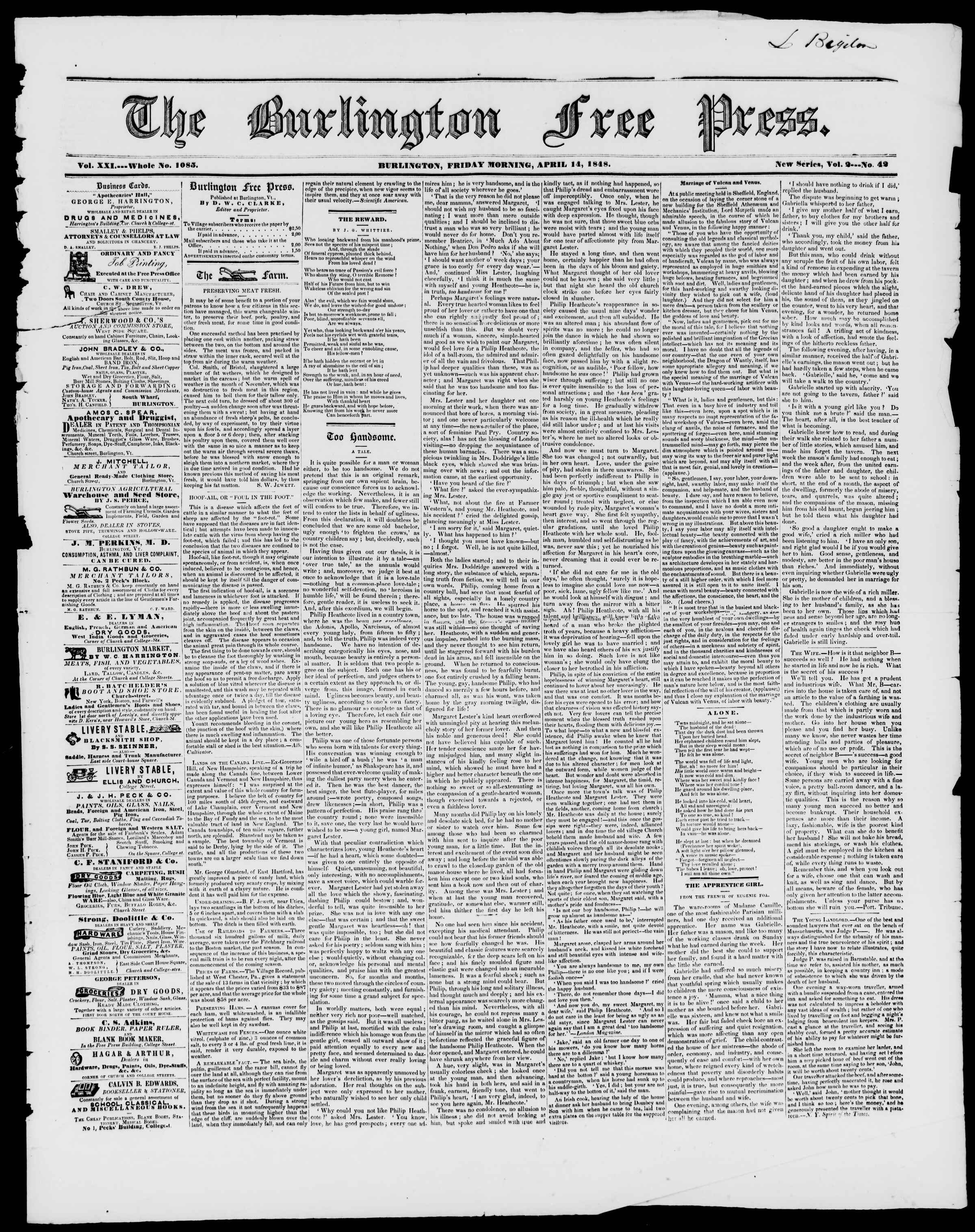 Newspaper of Burlington Free Press dated April 14, 1848 Page 1