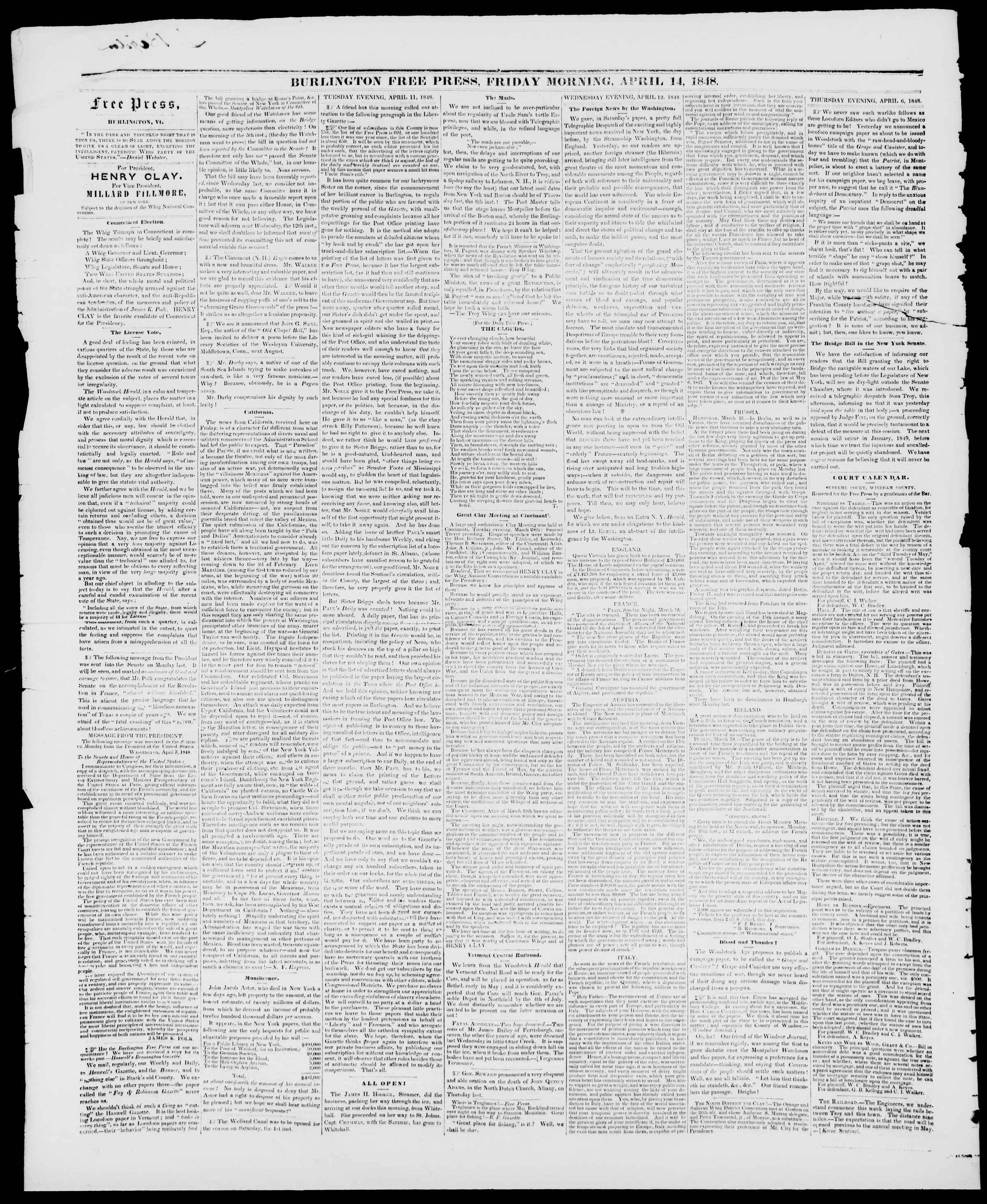 Newspaper of Burlington Free Press dated April 14, 1848 Page 2