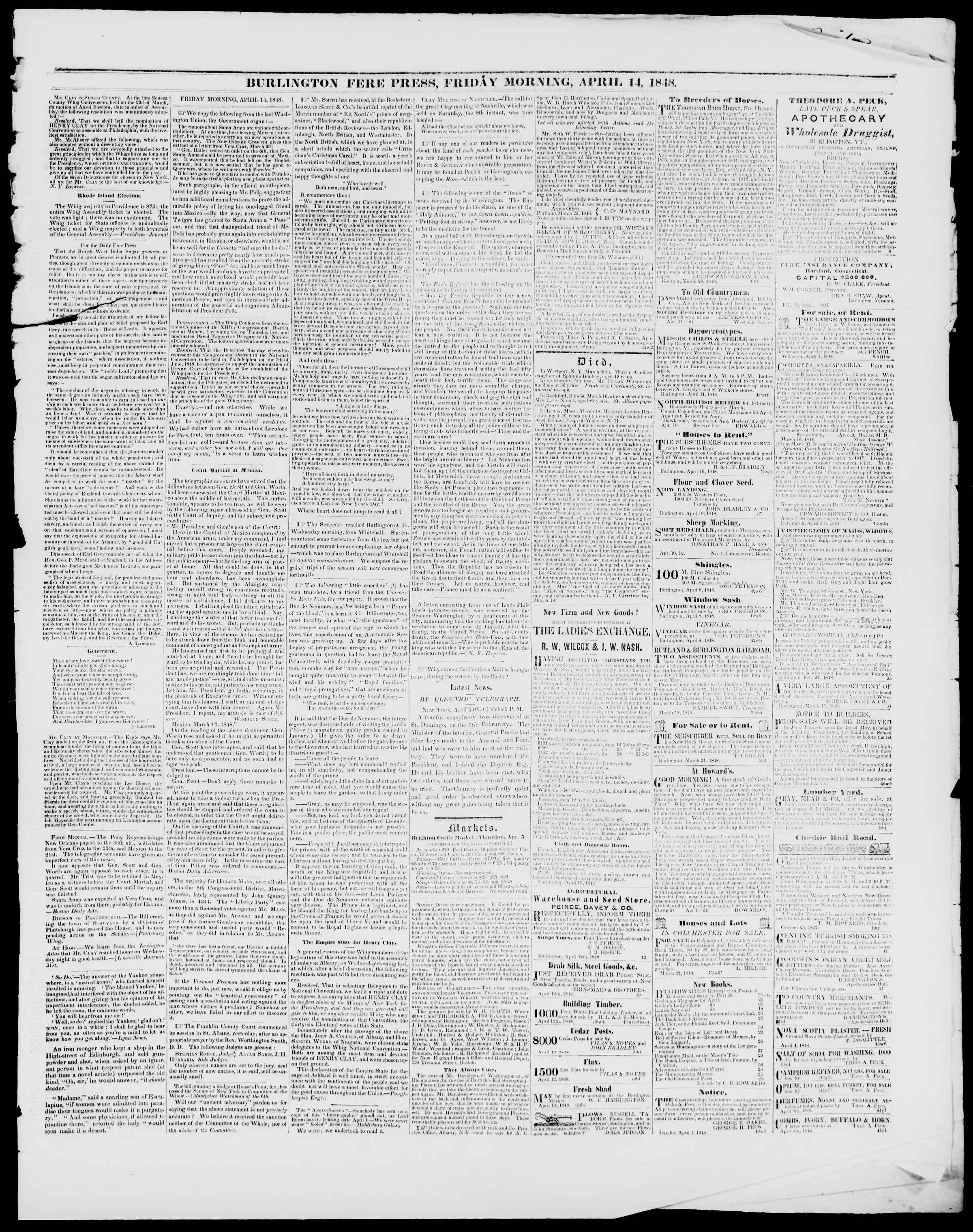 Newspaper of Burlington Free Press dated April 14, 1848 Page 3