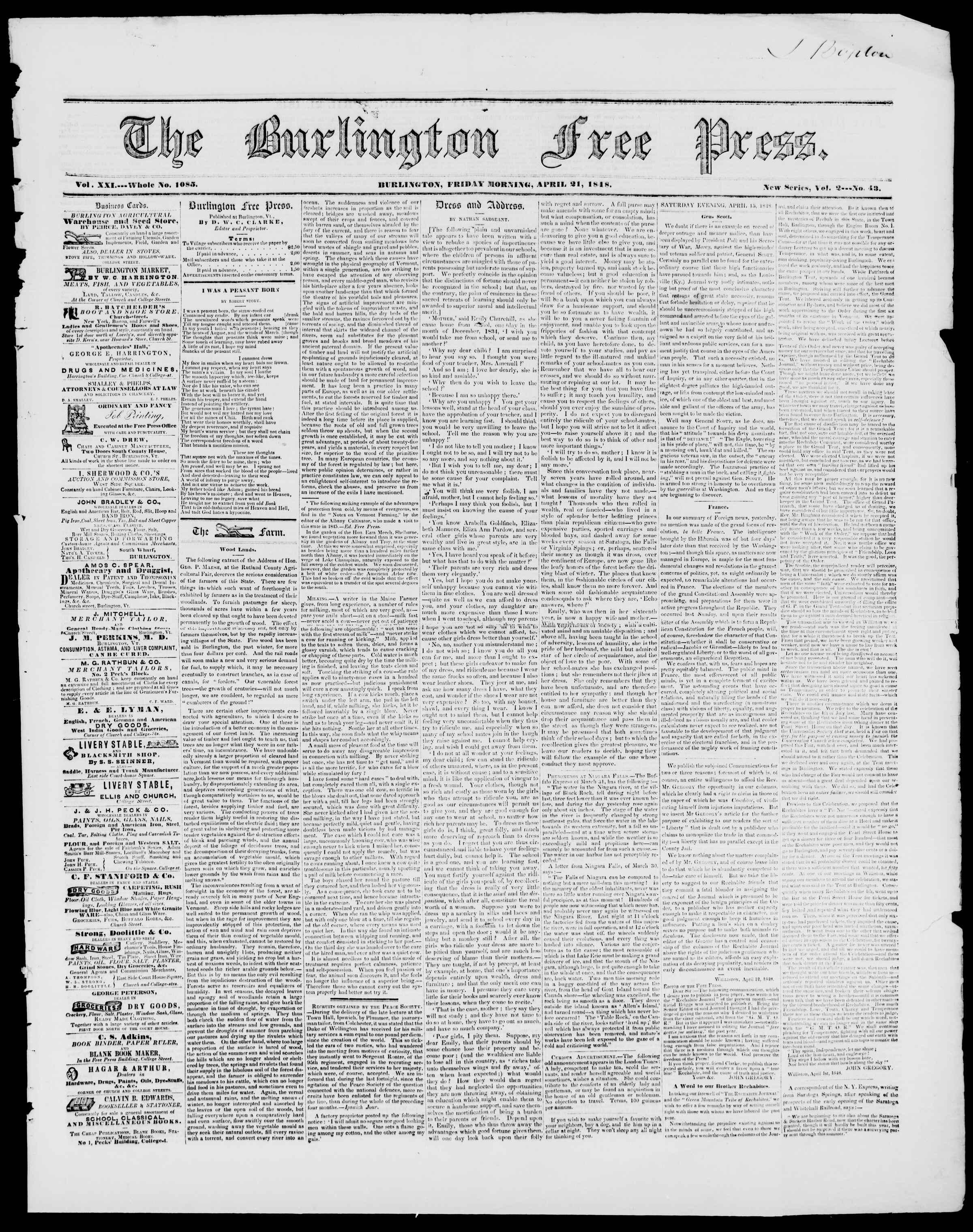 Newspaper of Burlington Free Press dated April 21, 1848 Page 1