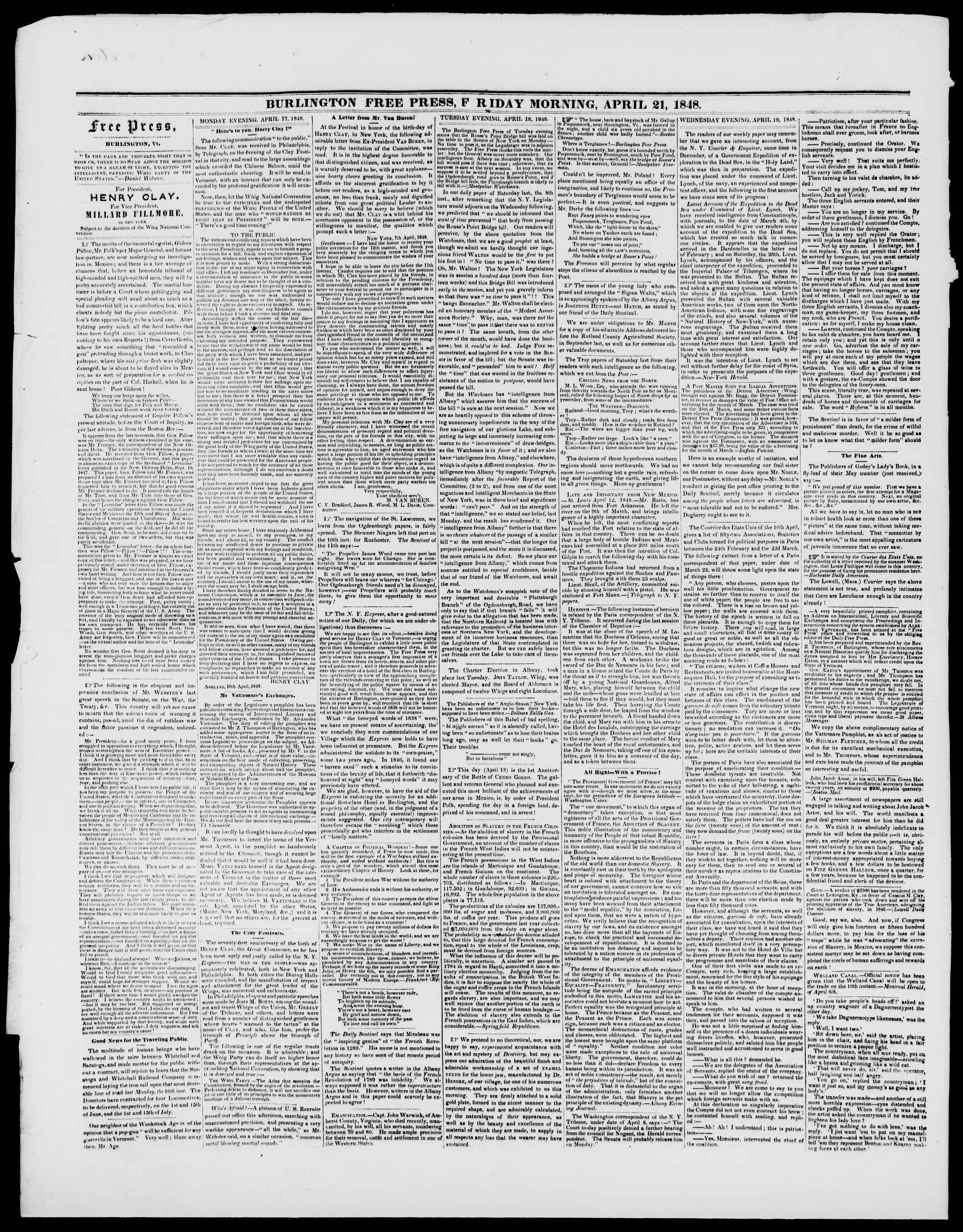 Newspaper of Burlington Free Press dated April 21, 1848 Page 2