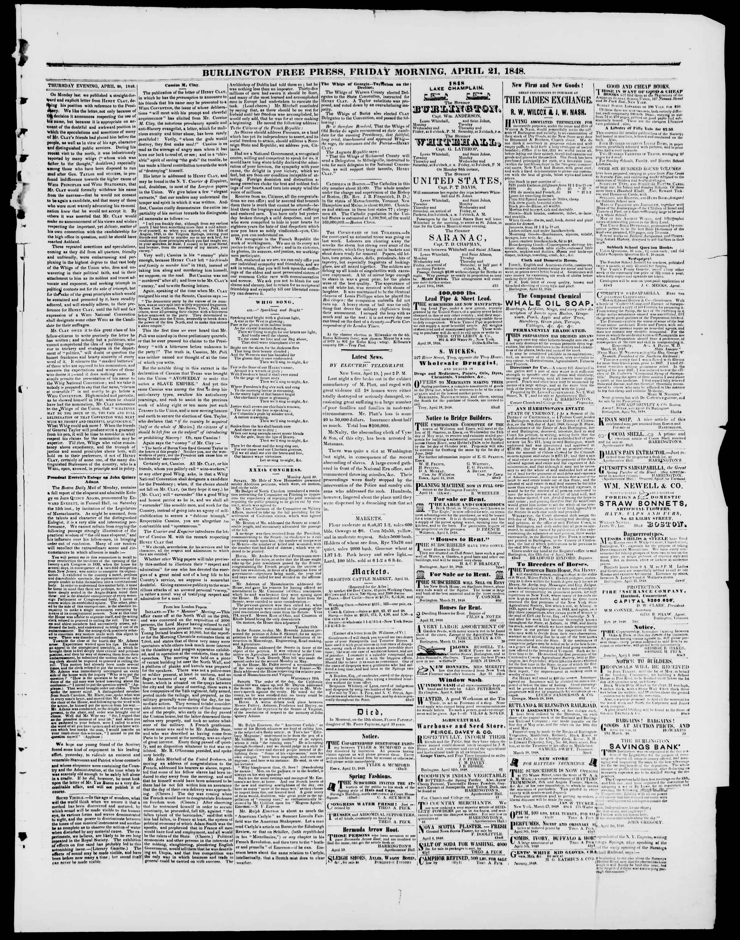 Newspaper of Burlington Free Press dated April 21, 1848 Page 3