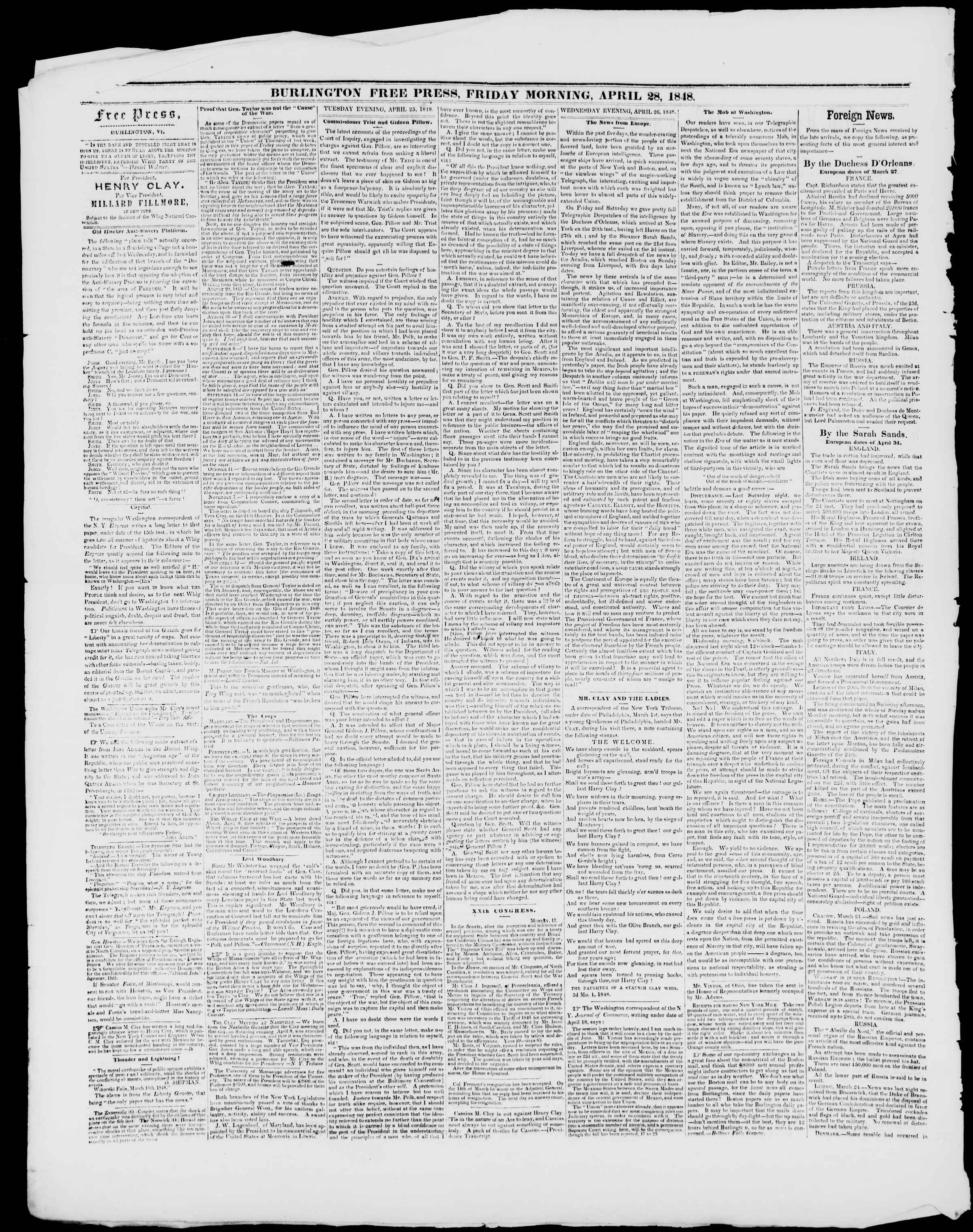 Newspaper of Burlington Free Press dated April 28, 1848 Page 2