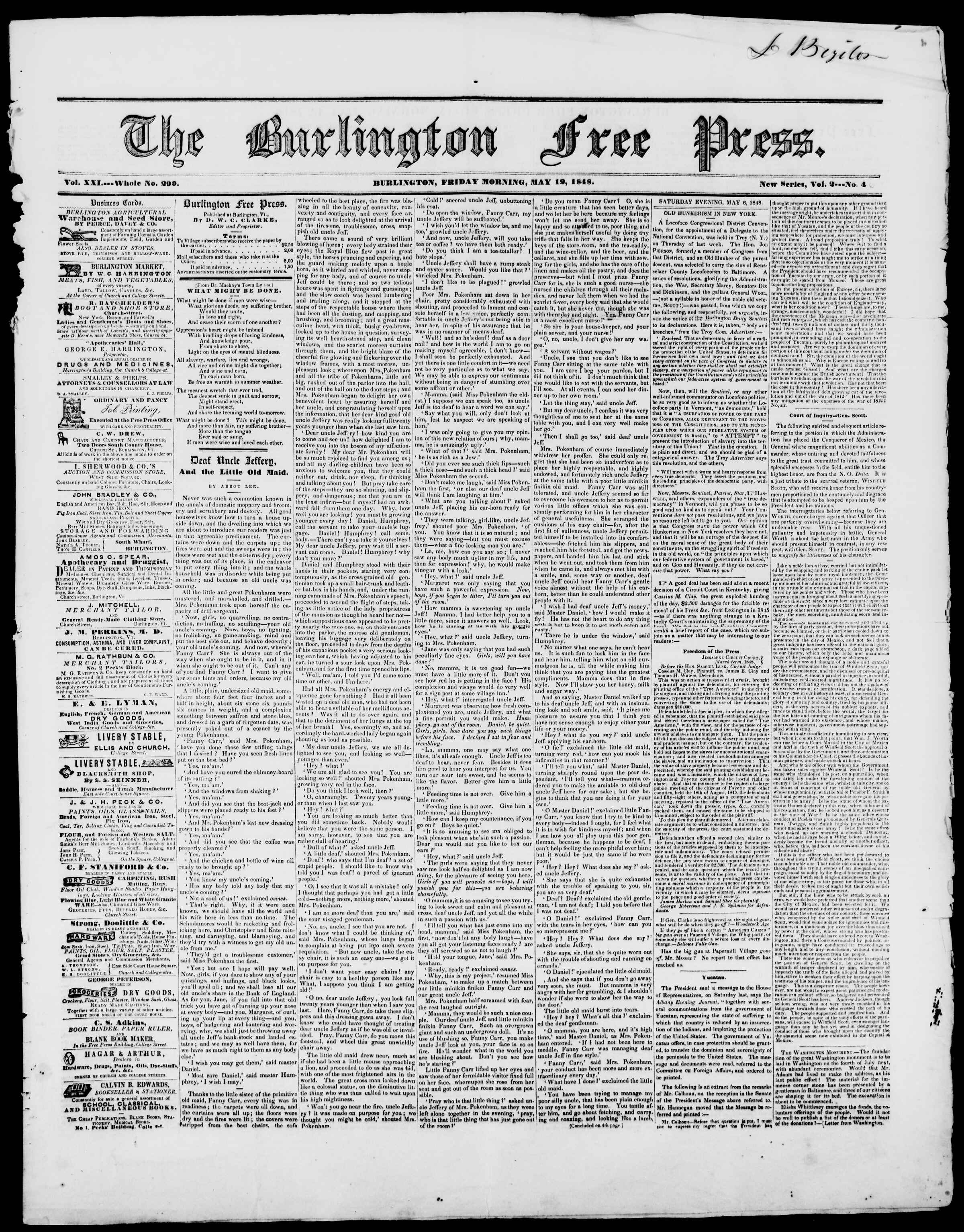 Newspaper of Burlington Free Press dated May 12, 1848 Page 1