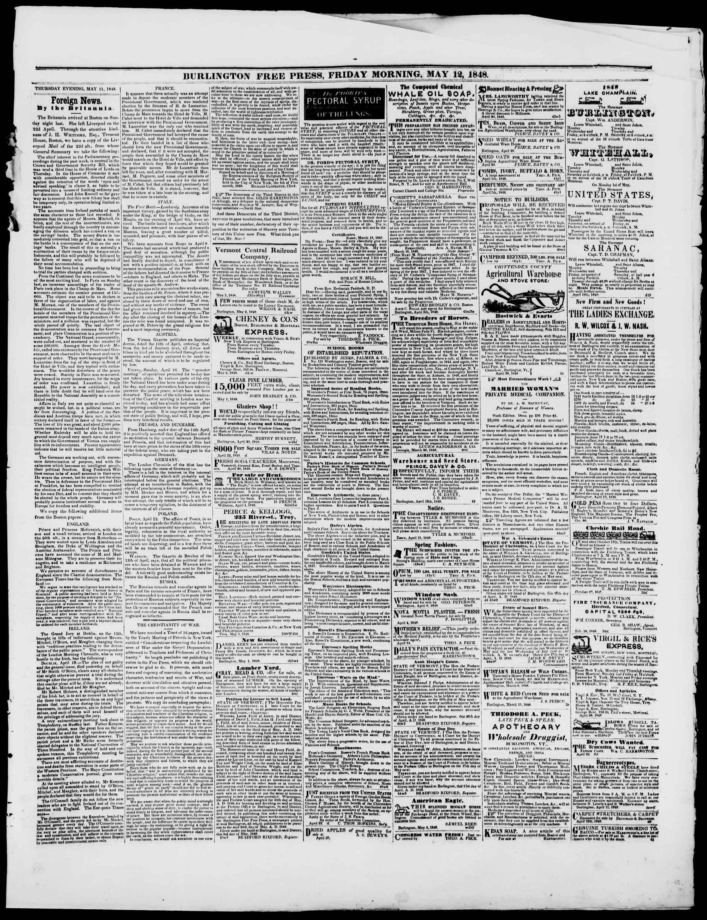 Newspaper of Burlington Free Press dated 12 Mayıs 1848 Page 3