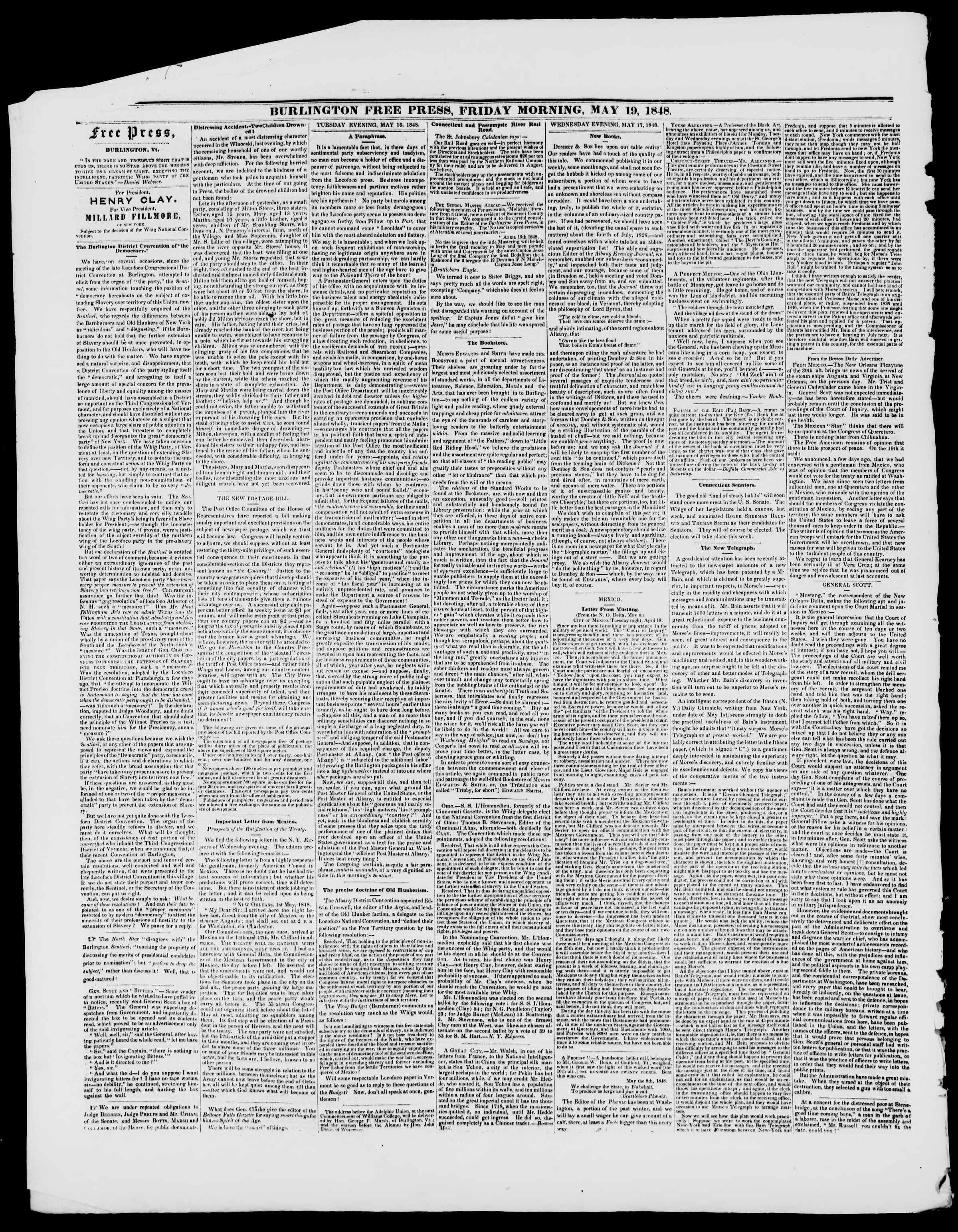 Newspaper of Burlington Free Press dated May 19, 1848 Page 2