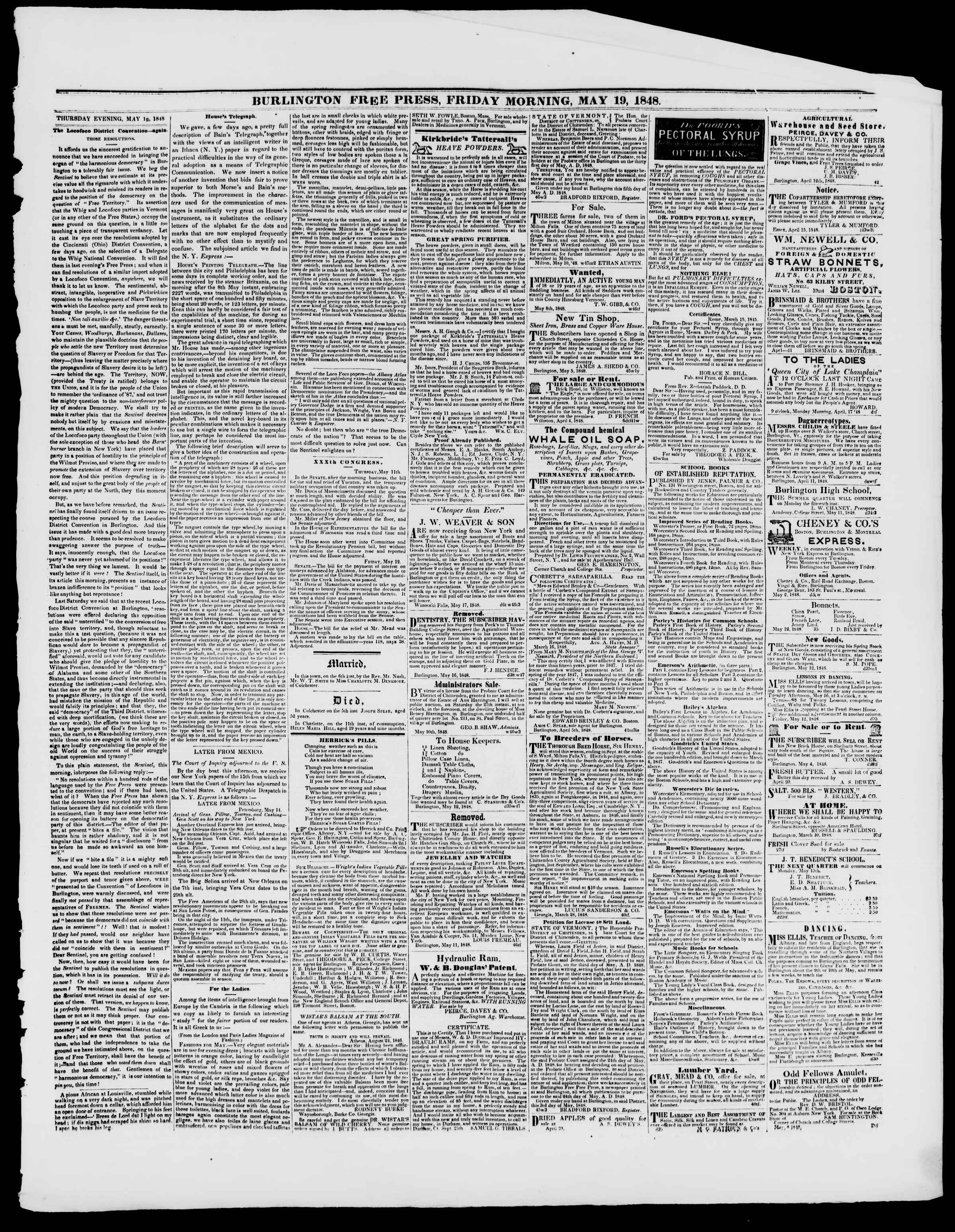 Newspaper of Burlington Free Press dated May 19, 1848 Page 3