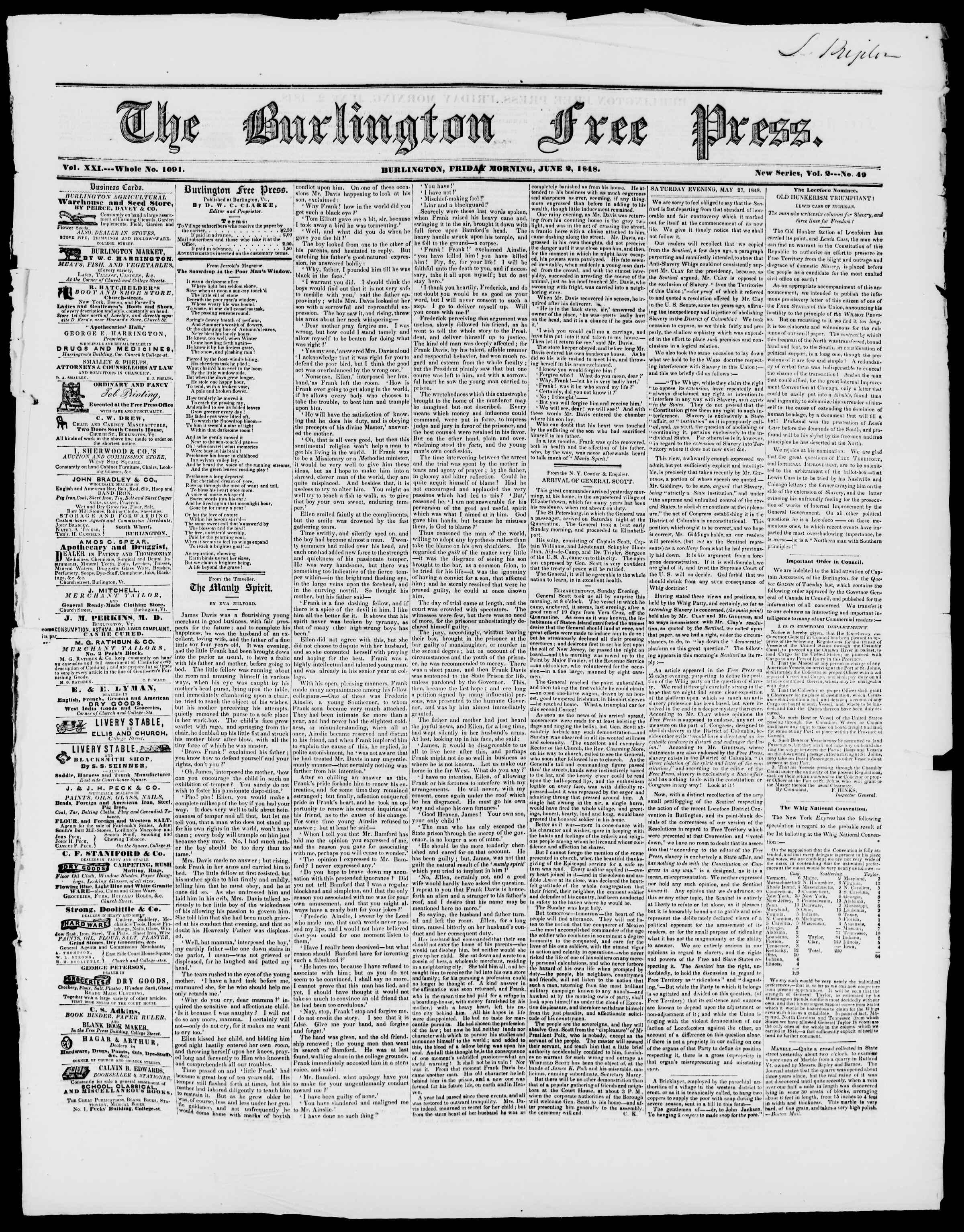 Newspaper of Burlington Free Press dated June 2, 1848 Page 1
