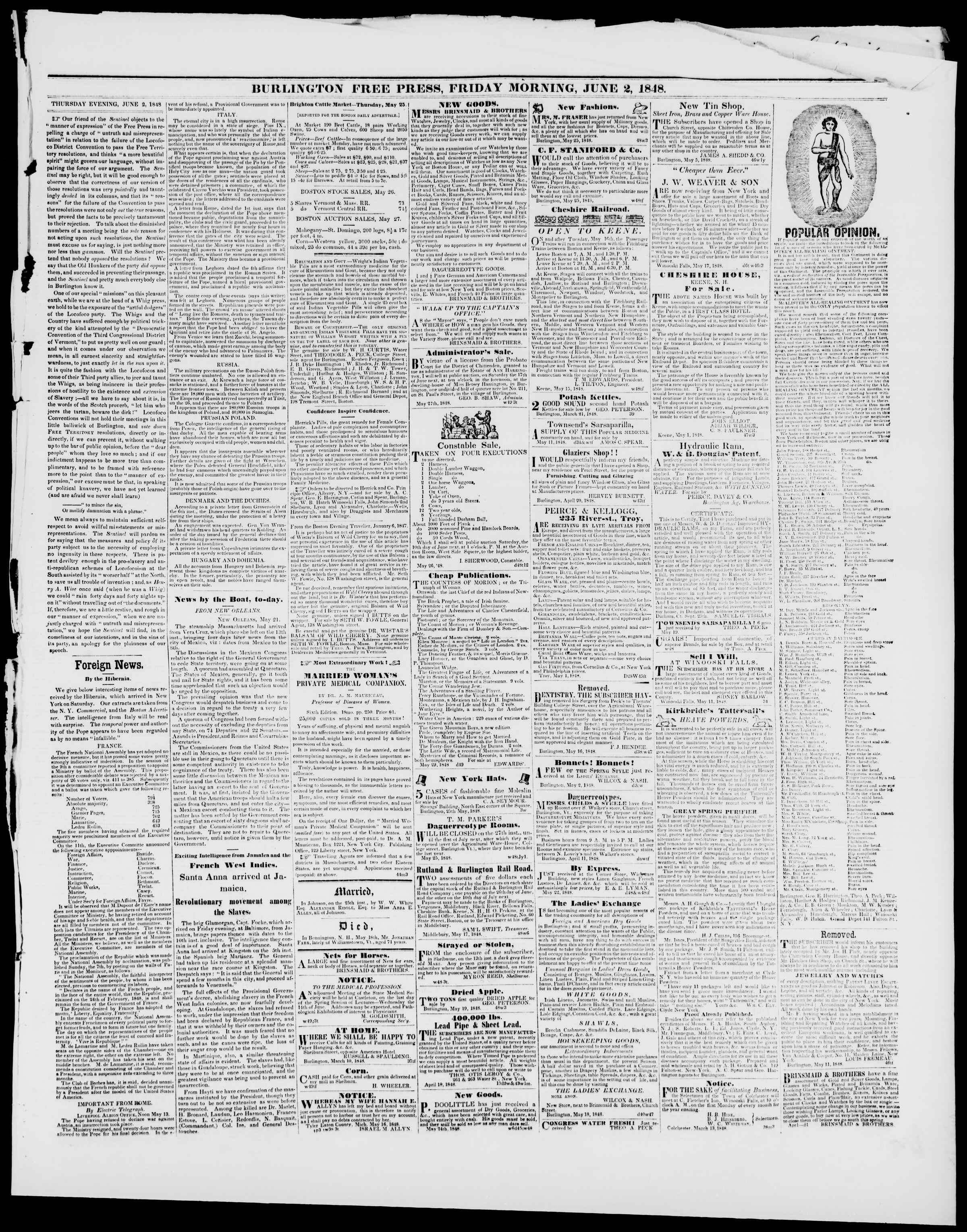 Newspaper of Burlington Free Press dated June 2, 1848 Page 3
