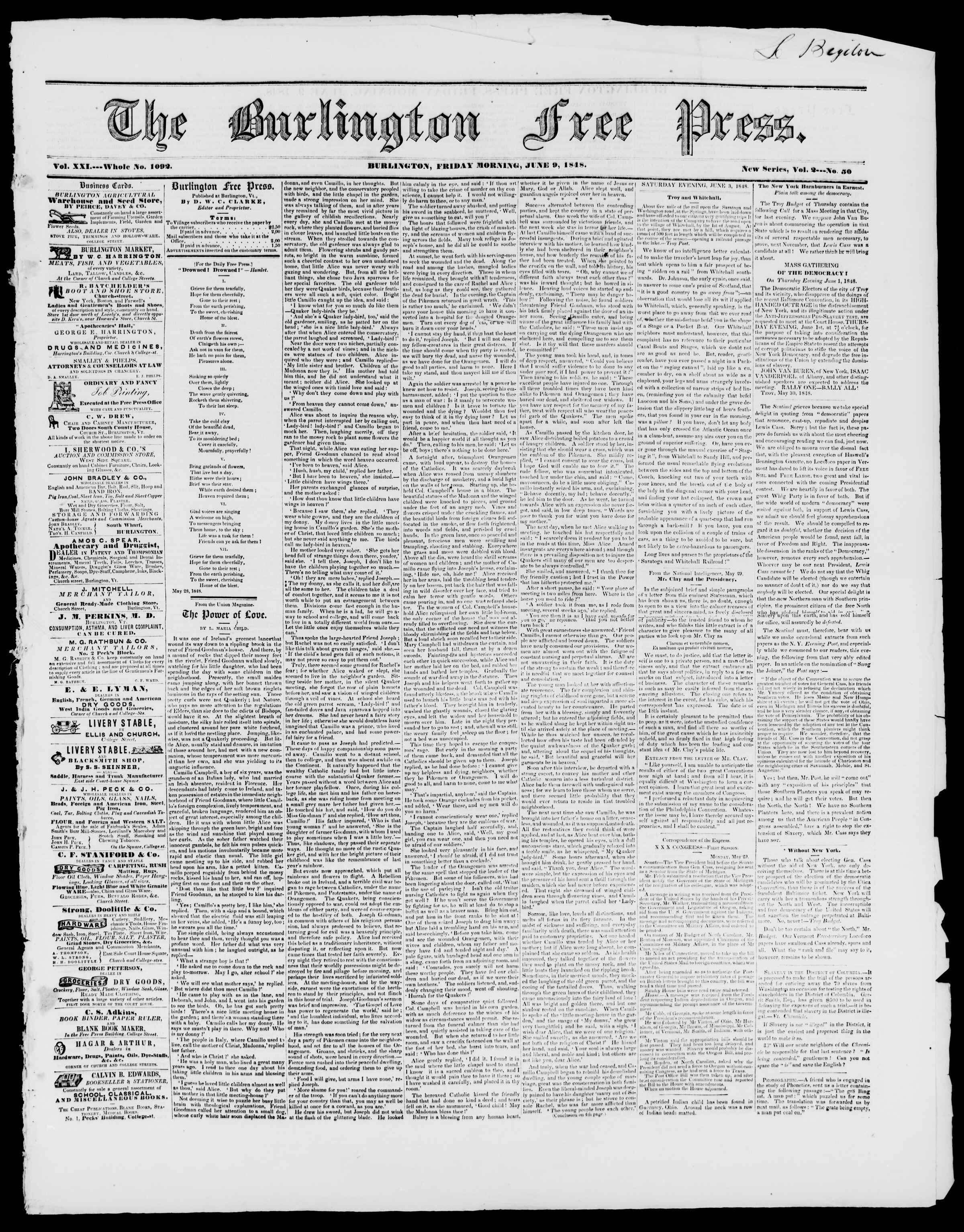 Newspaper of Burlington Free Press dated June 9, 1848 Page 1