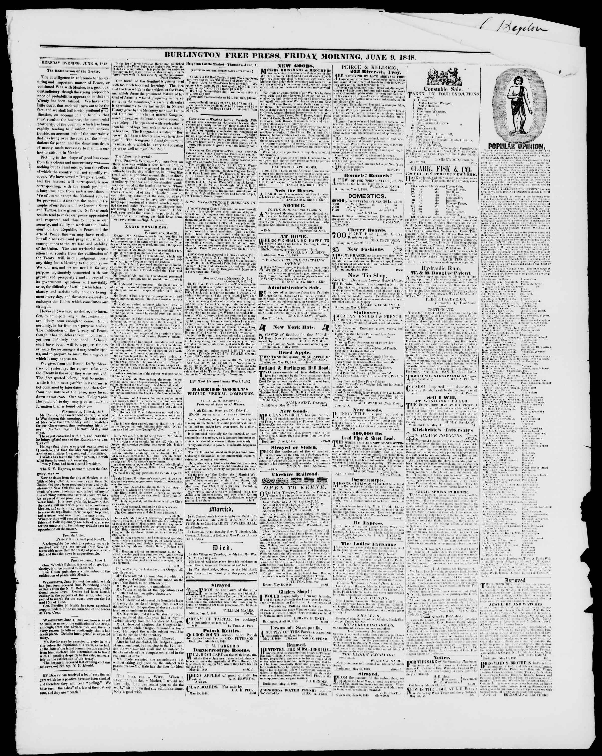 Newspaper of Burlington Free Press dated June 9, 1848 Page 3