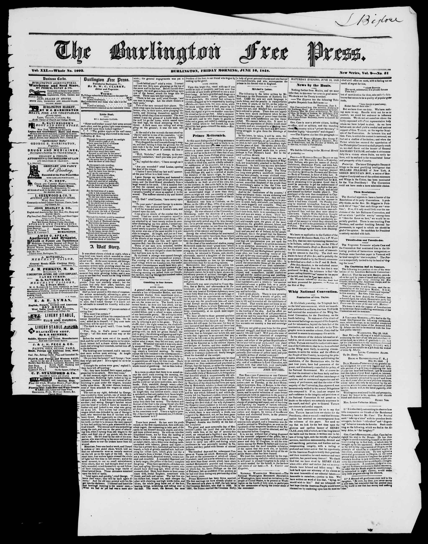 16 Haziran 1848 tarihli Burlington Free Press Gazetesi Sayfa 1