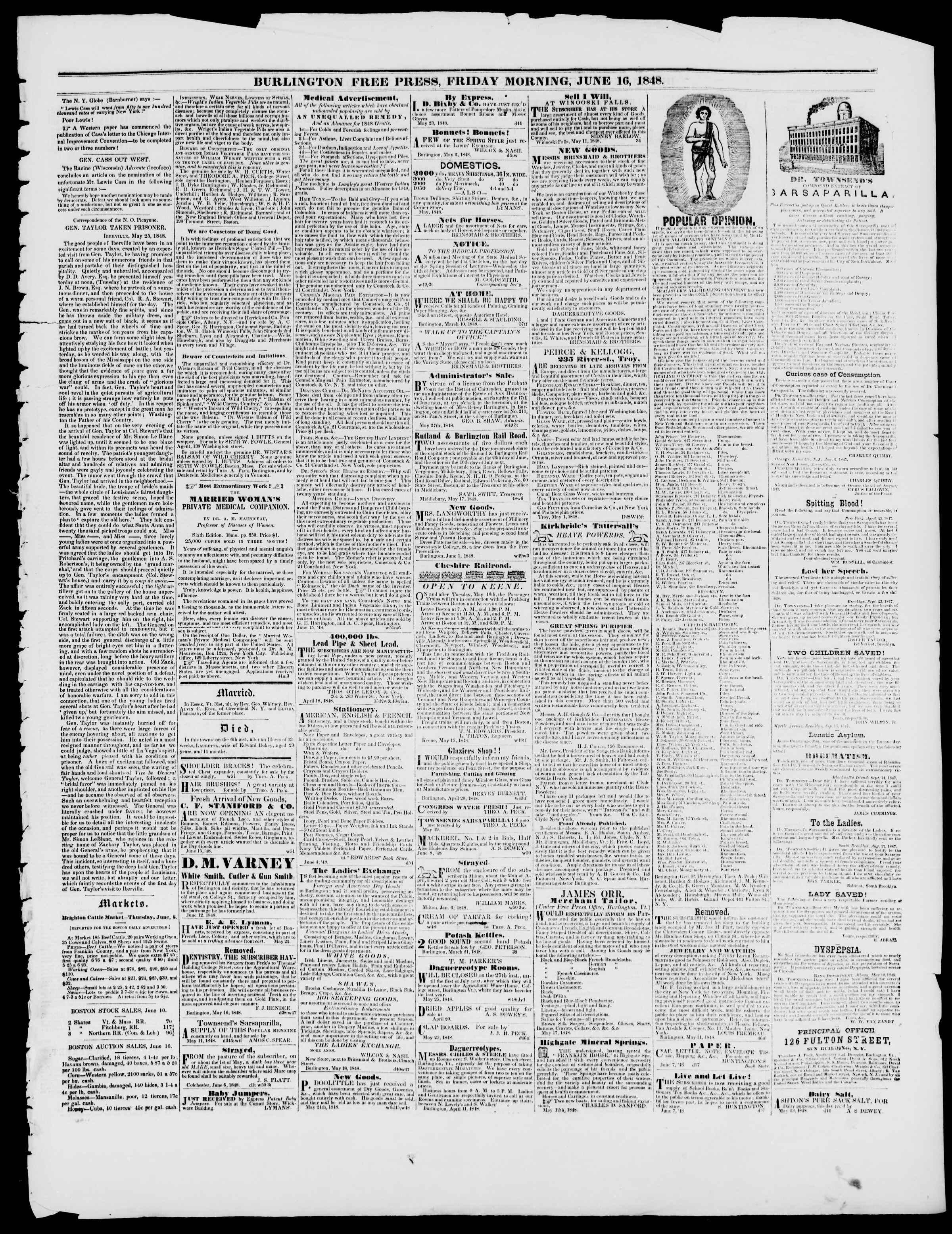 Newspaper of Burlington Free Press dated June 16, 1848 Page 3