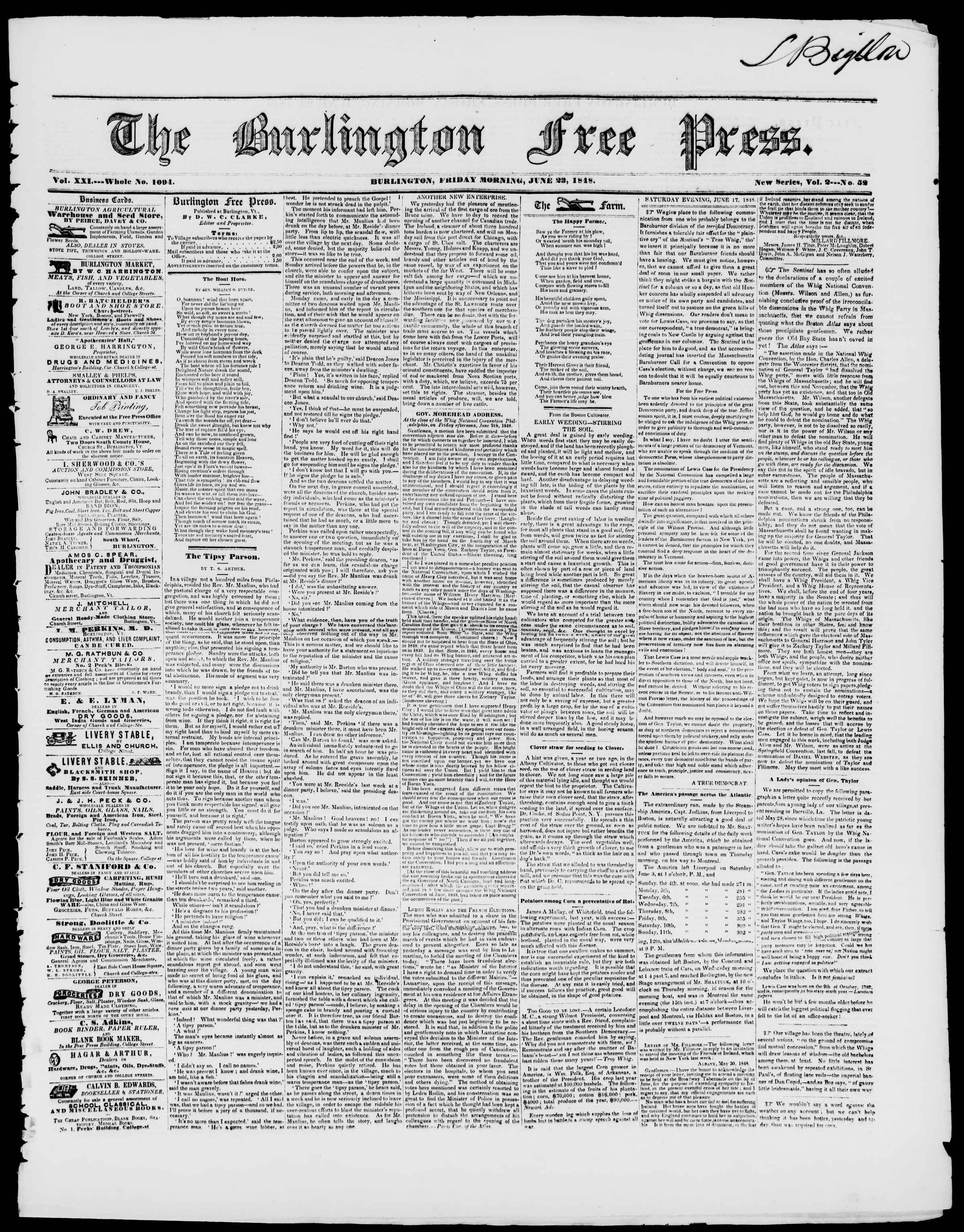 Newspaper of Burlington Free Press dated June 23, 1848 Page 1