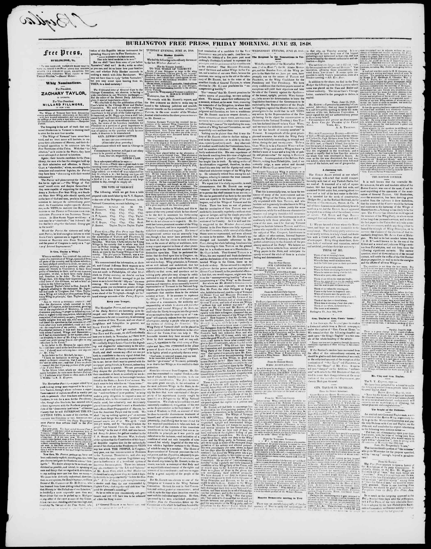 Newspaper of Burlington Free Press dated June 23, 1848 Page 2