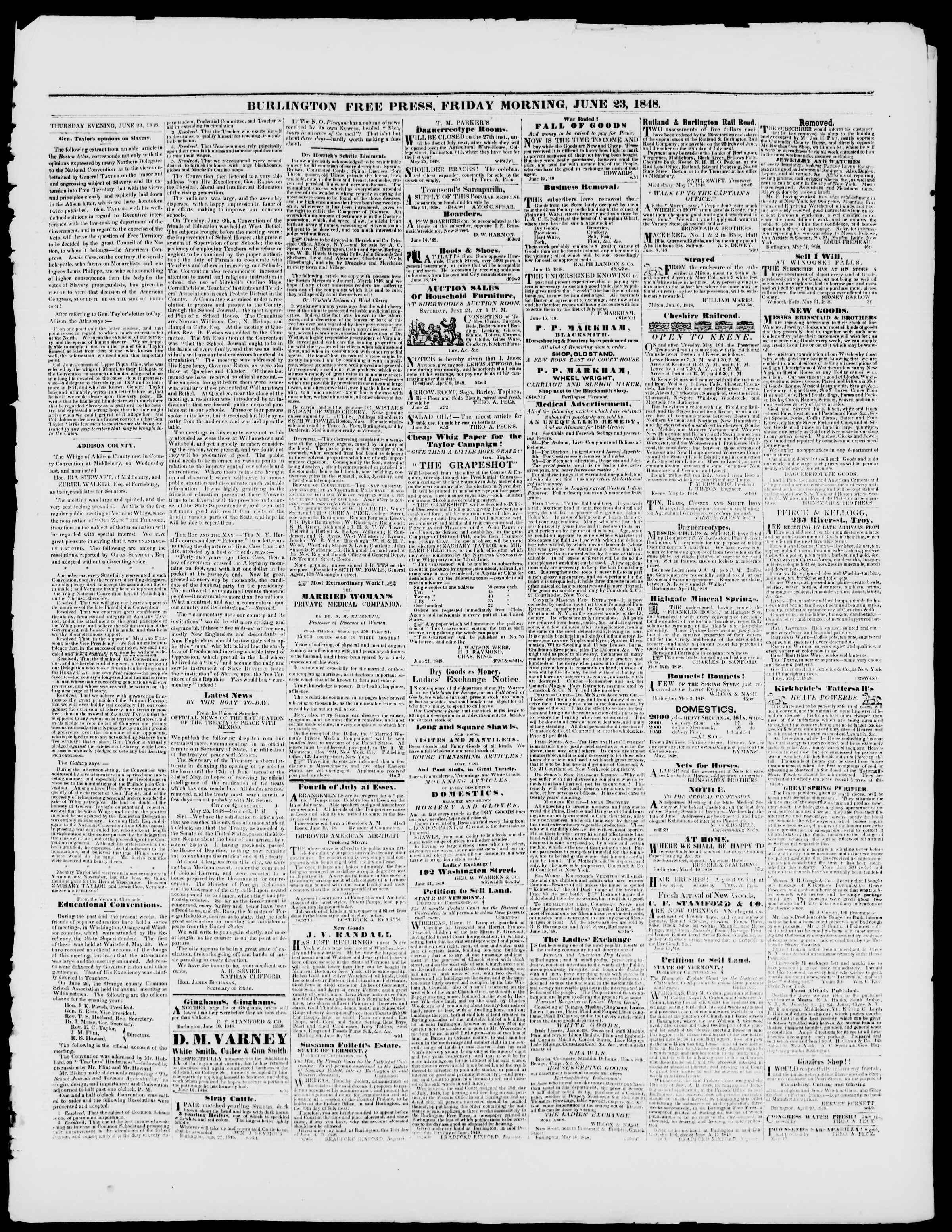 Newspaper of Burlington Free Press dated June 23, 1848 Page 3
