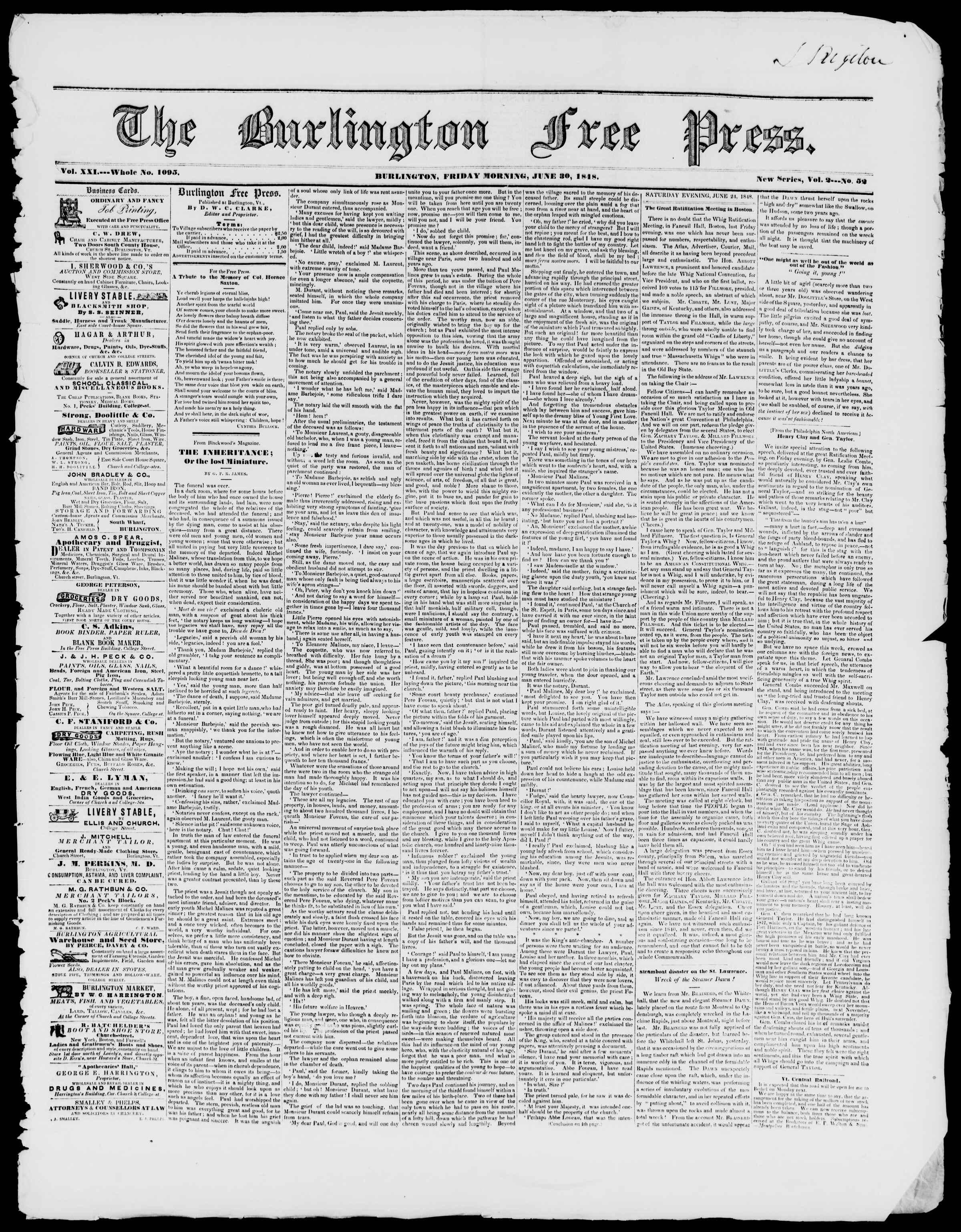 Newspaper of Burlington Free Press dated June 30, 1848 Page 1