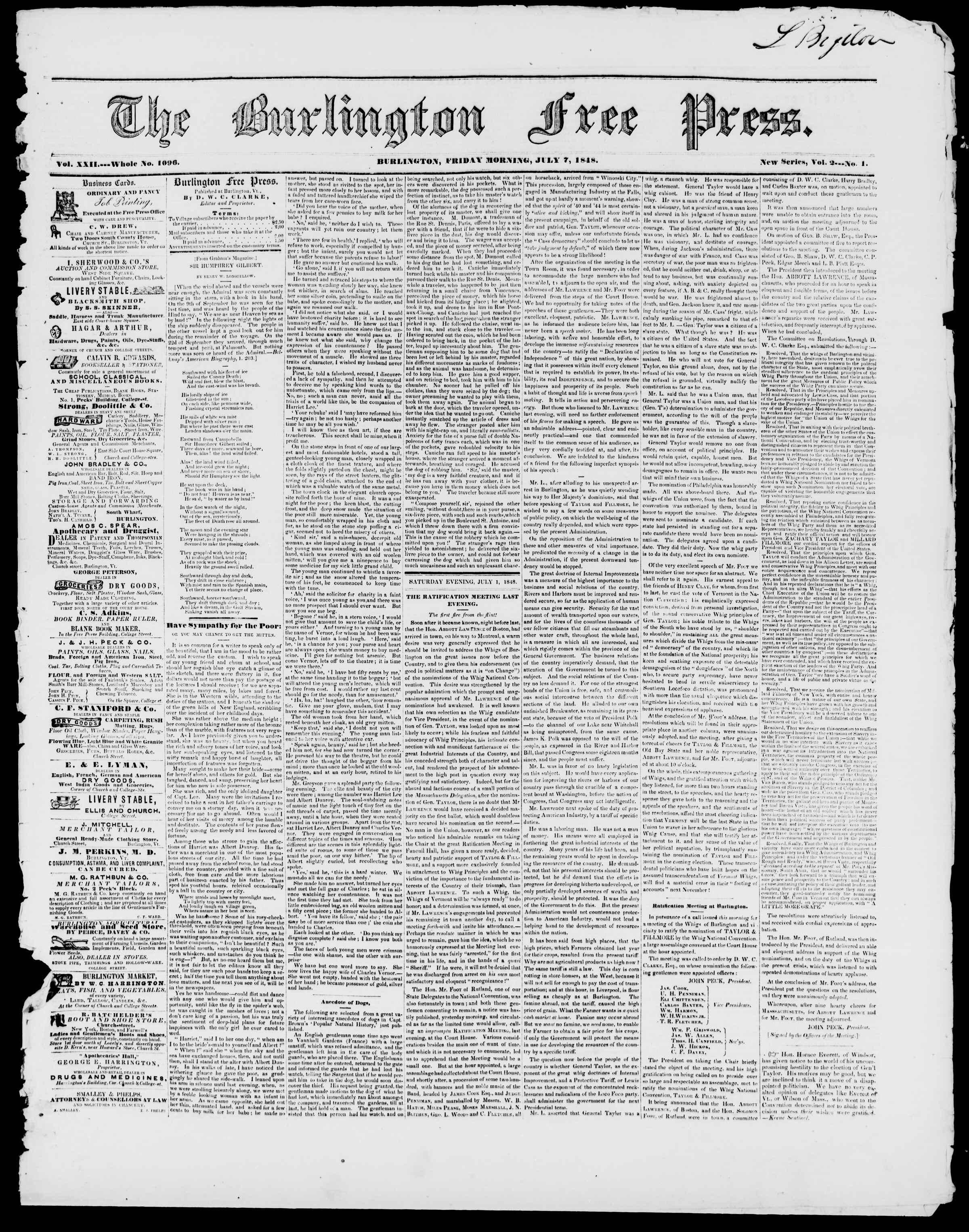 Newspaper of Burlington Free Press dated 7 Temmuz 1848 Page 1