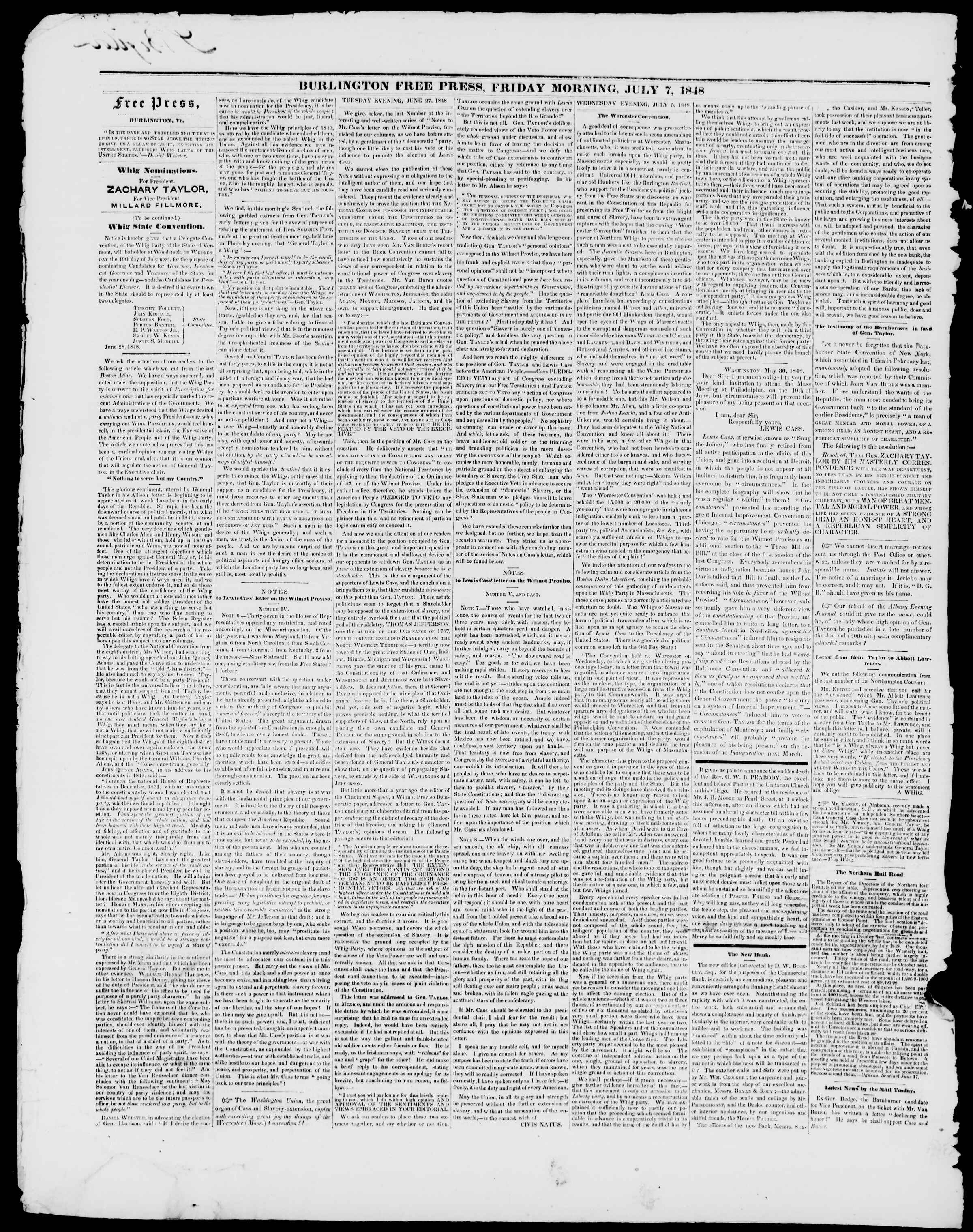 Newspaper of Burlington Free Press dated July 7, 1848 Page 2