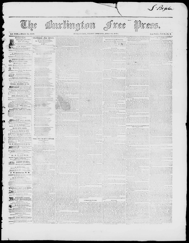 Newspaper of Burlington Free Press dated July 14, 1848 Page 1