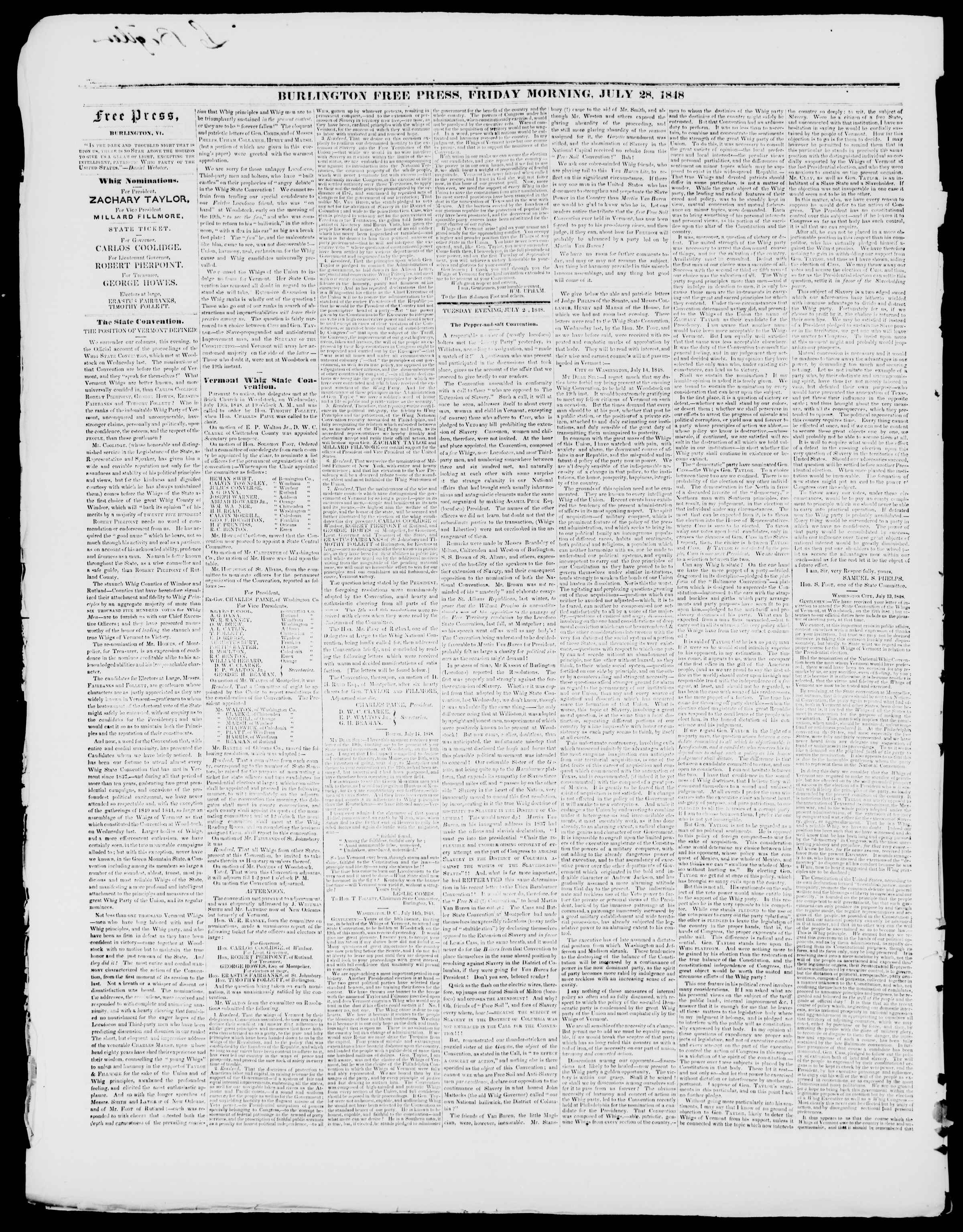 Newspaper of Burlington Free Press dated July 28, 1848 Page 2