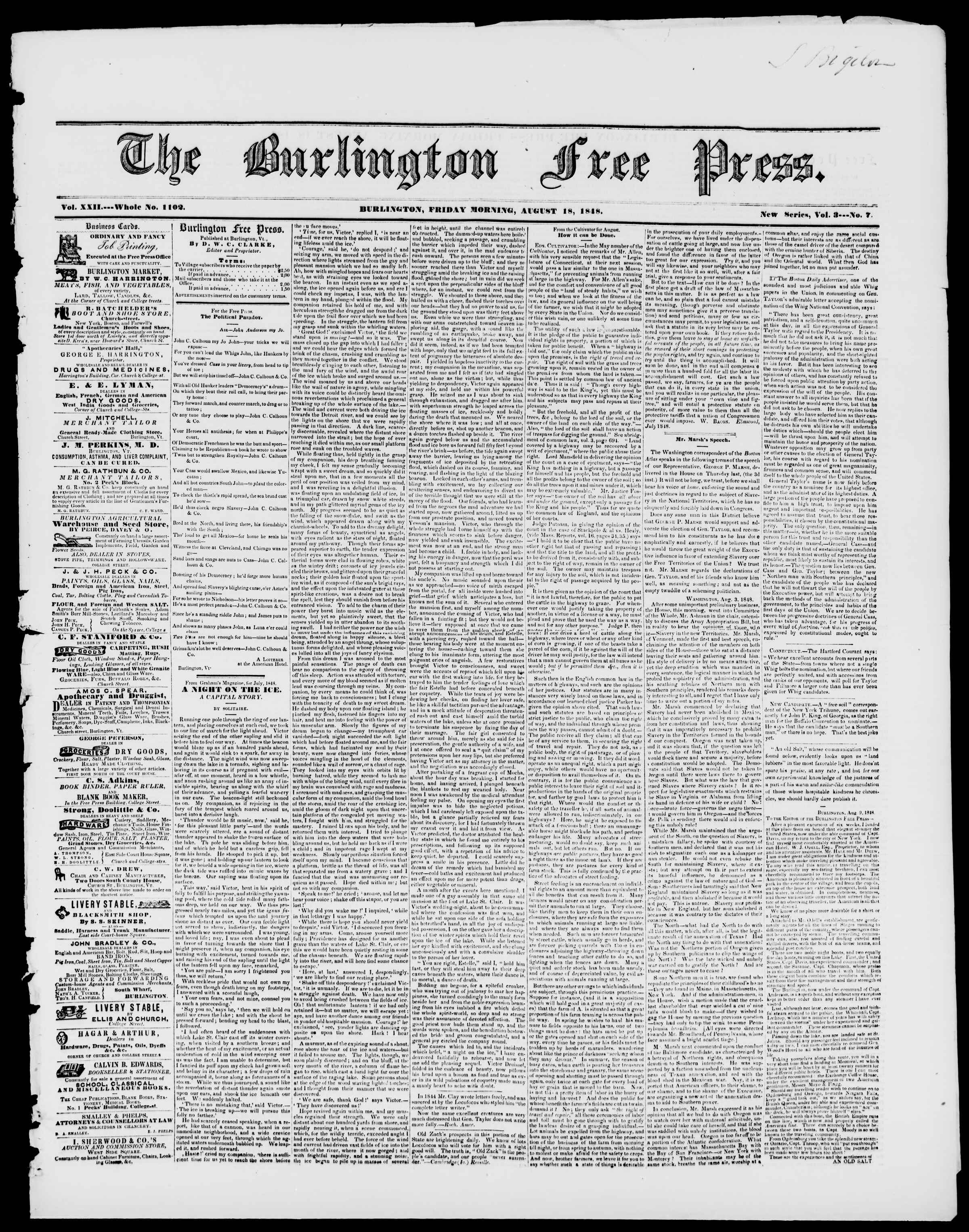 Newspaper of Burlington Free Press dated August 18, 1848 Page 1