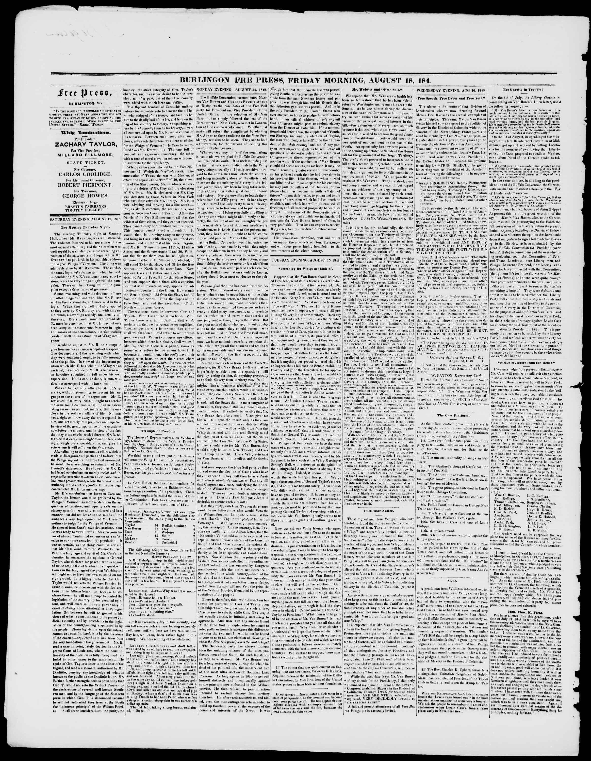 Newspaper of Burlington Free Press dated August 18, 1848 Page 2