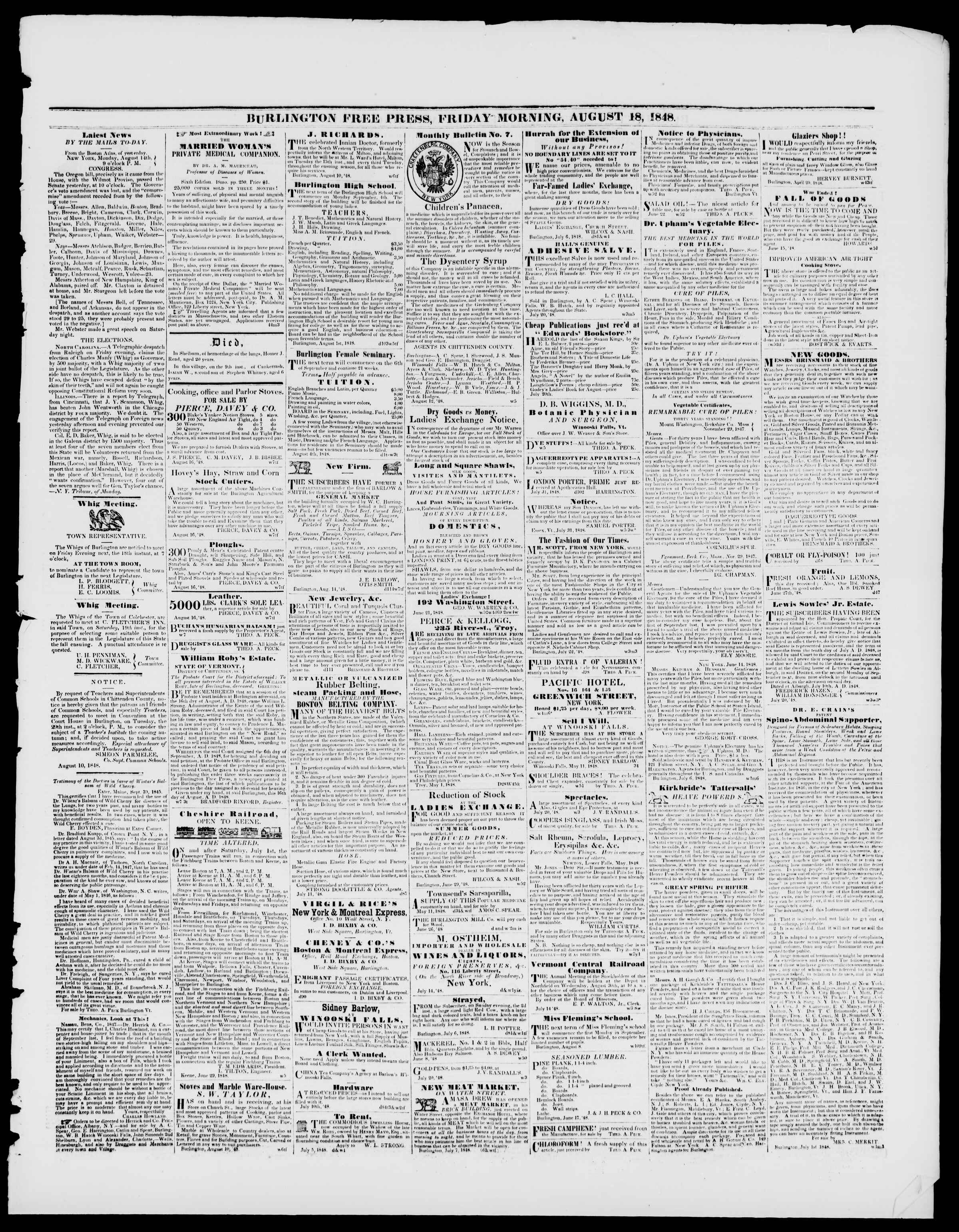 Newspaper of Burlington Free Press dated August 18, 1848 Page 3