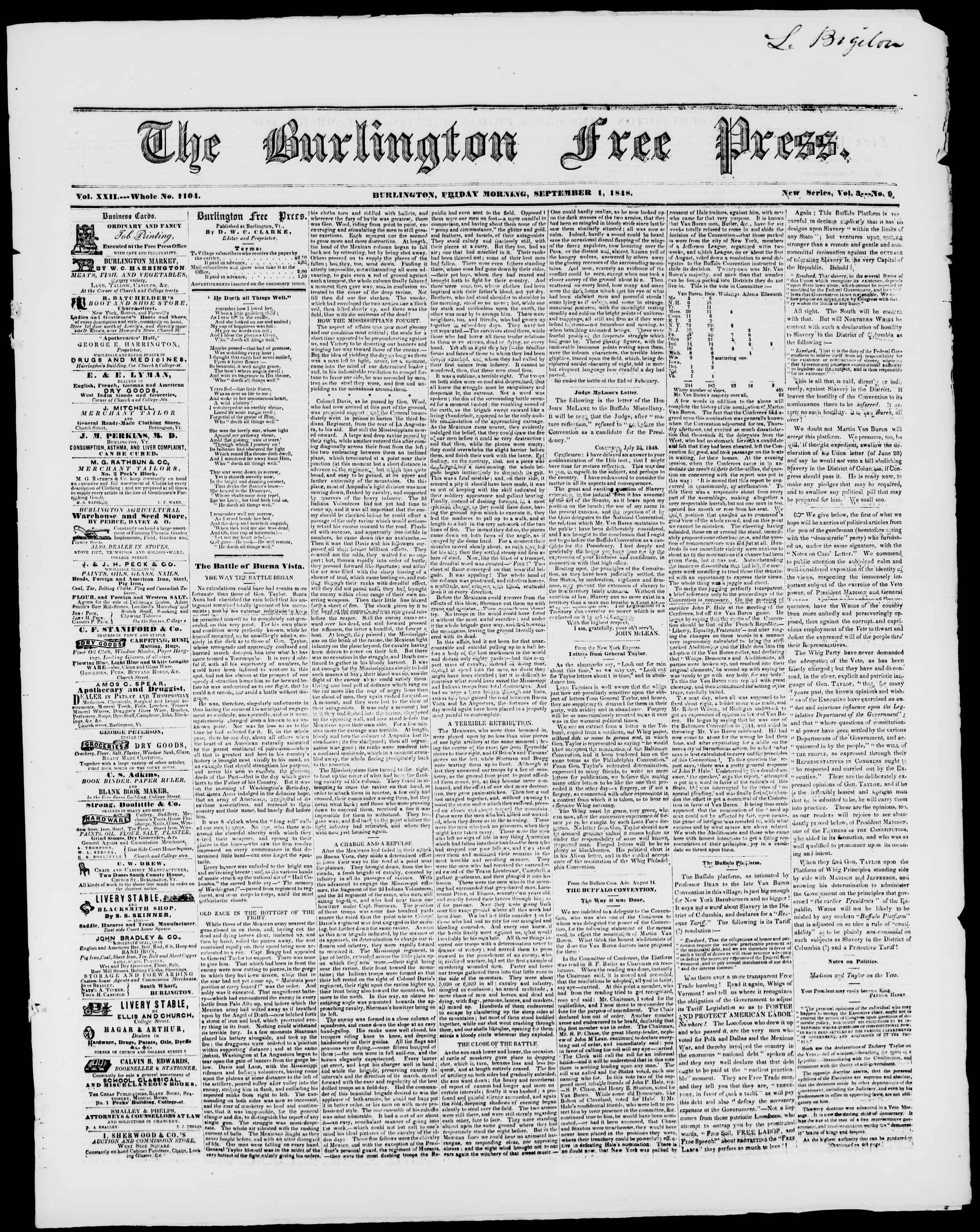 Newspaper of Burlington Free Press dated September 1, 1848 Page 1