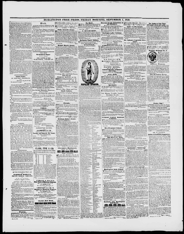 Newspaper of Burlington Free Press dated September 1, 1848 Page 3