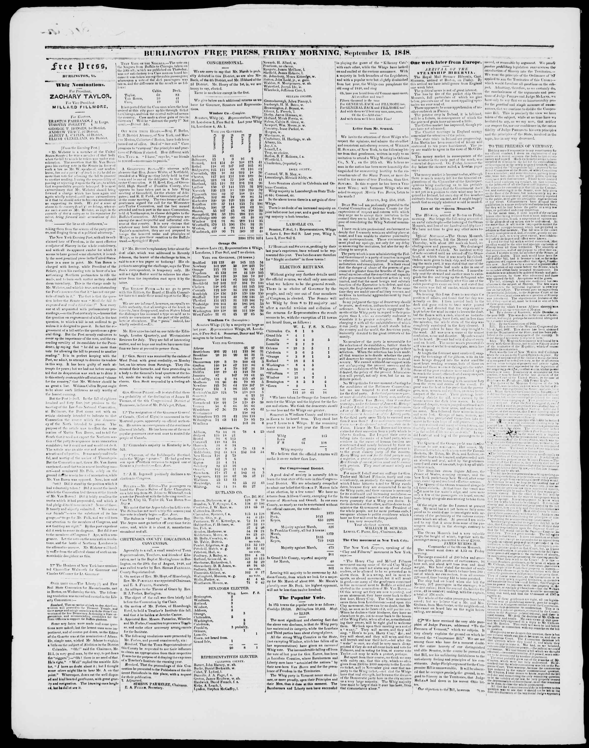 Newspaper of Burlington Free Press dated September 15, 1848 Page 2