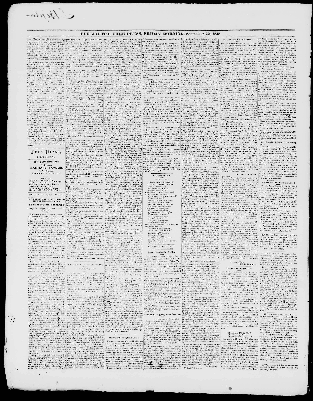 Newspaper of Burlington Free Press dated September 22, 1848 Page 2