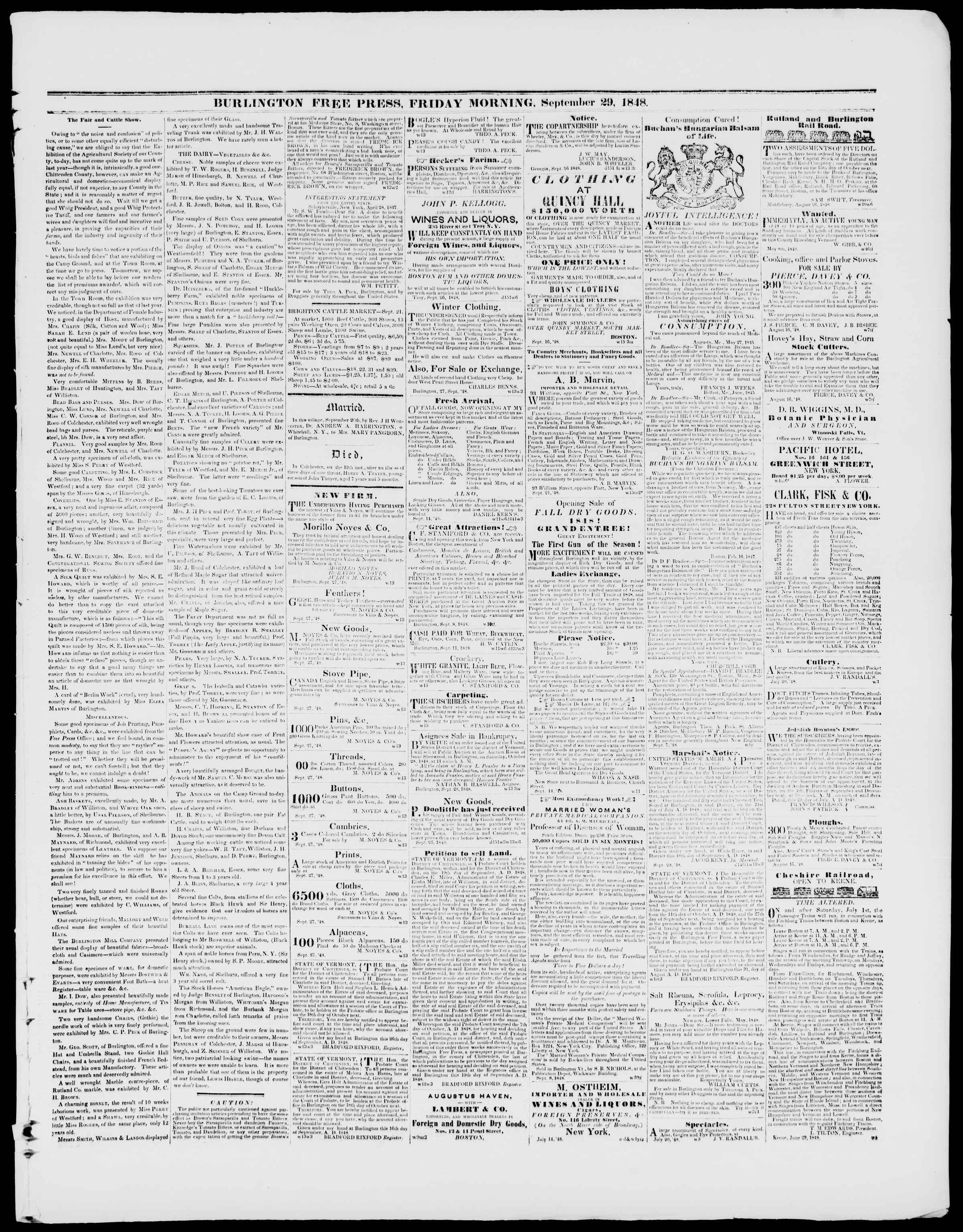 Newspaper of Burlington Free Press dated September 29, 1848 Page 3