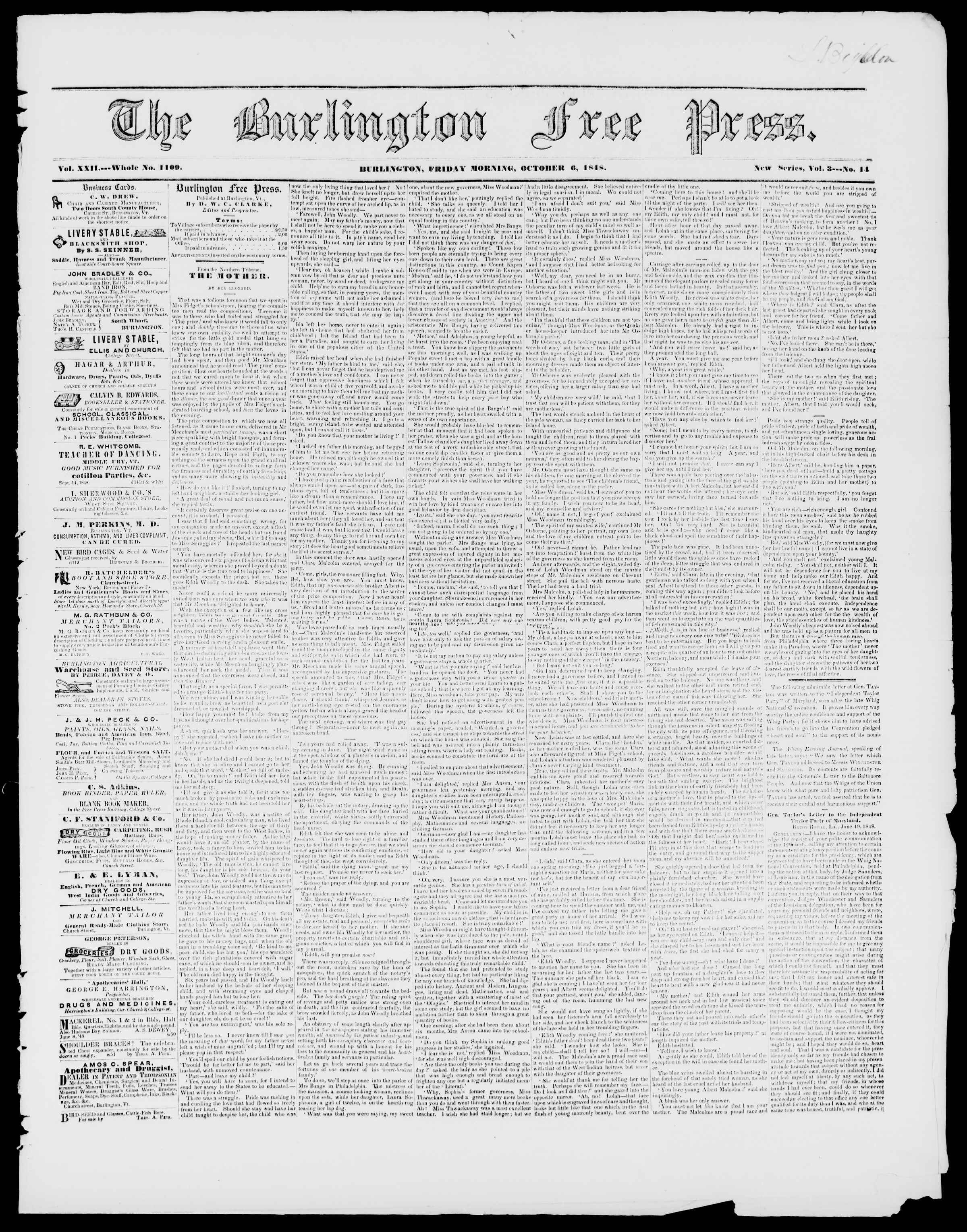 Newspaper of Burlington Free Press dated October 6, 1848 Page 1