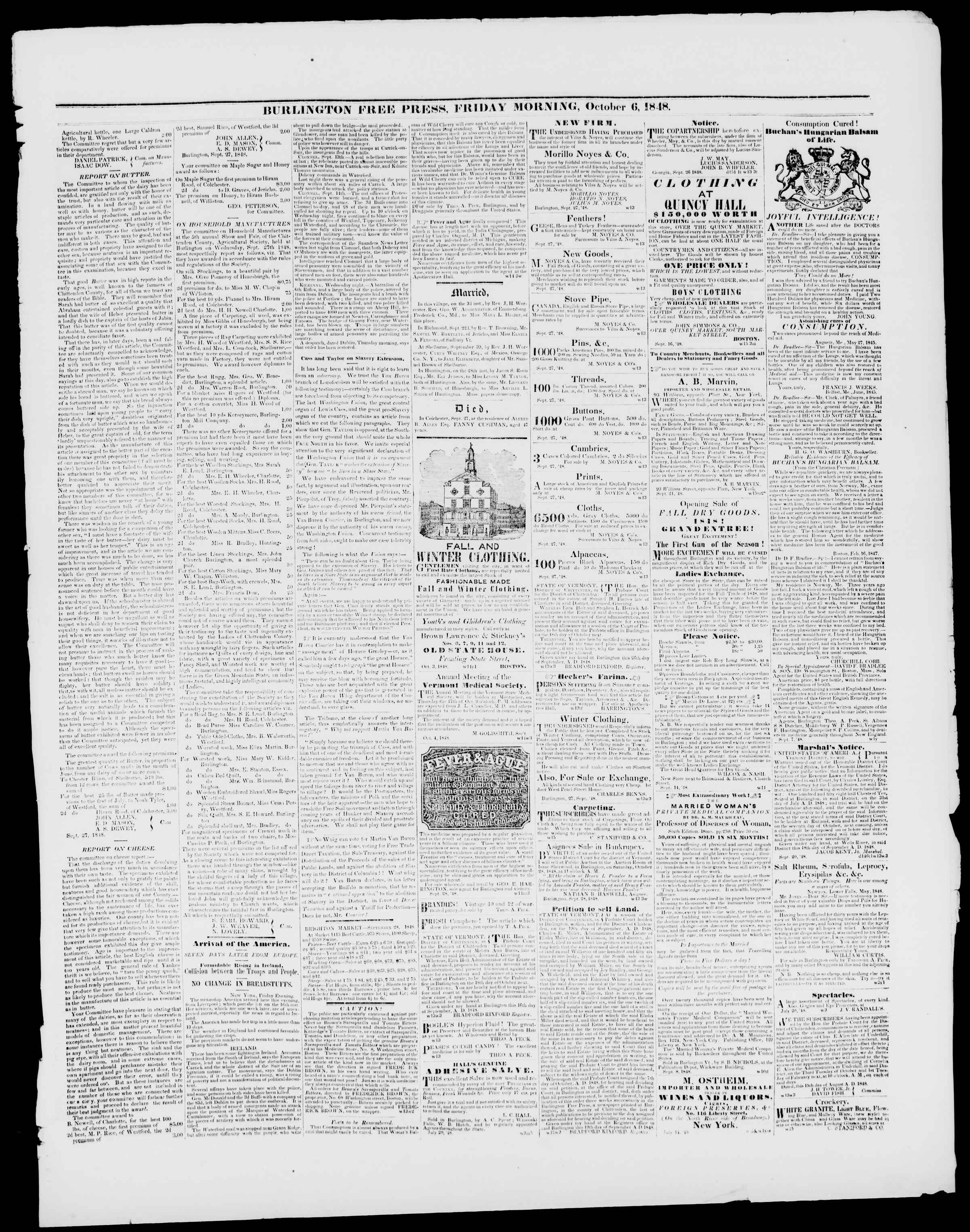 Newspaper of Burlington Free Press dated October 6, 1848 Page 3