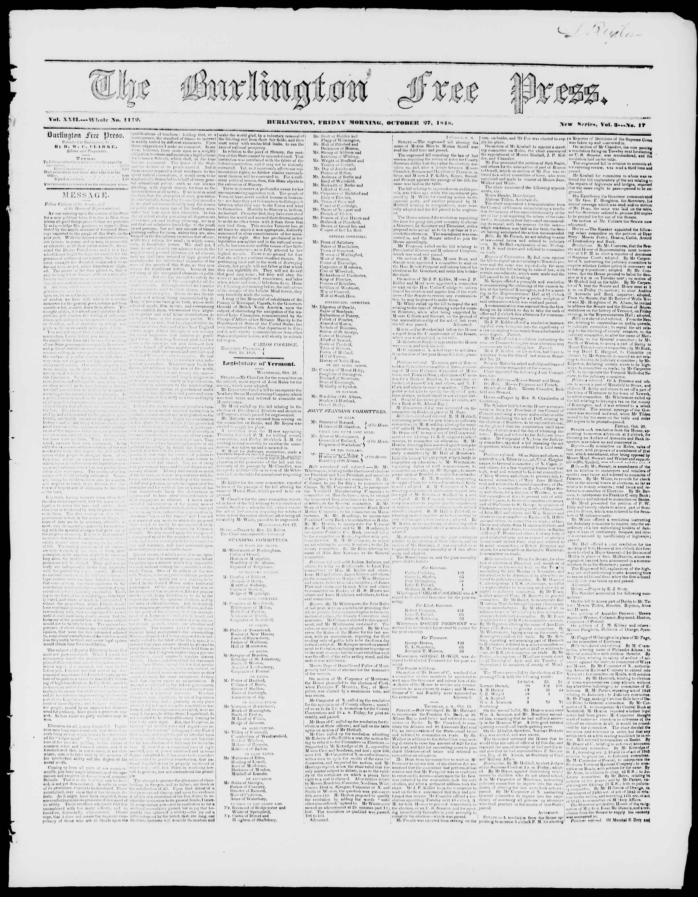 Newspaper of Burlington Free Press dated October 27, 1848 Page 1