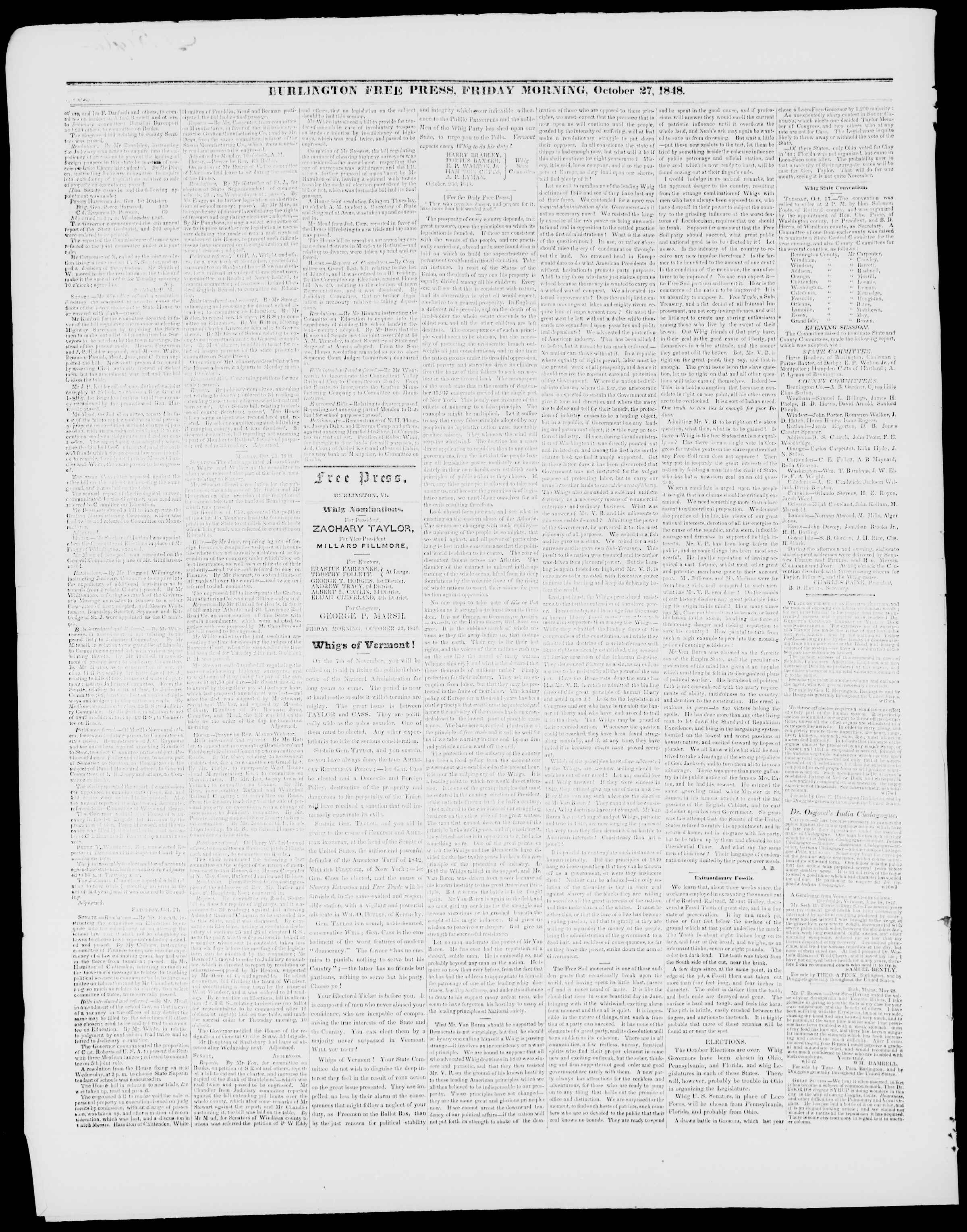 Newspaper of Burlington Free Press dated October 27, 1848 Page 2