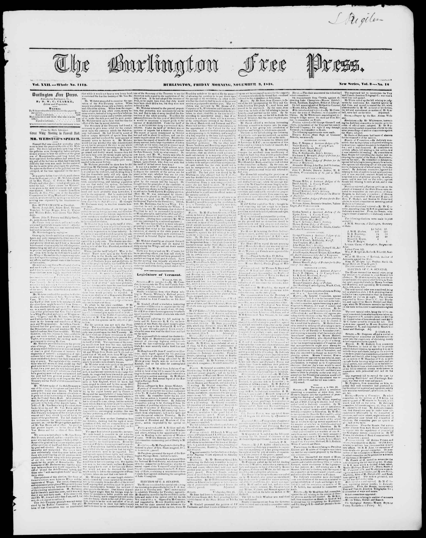 3 Kasım 1848 tarihli Burlington Free Press Gazetesi Sayfa 1