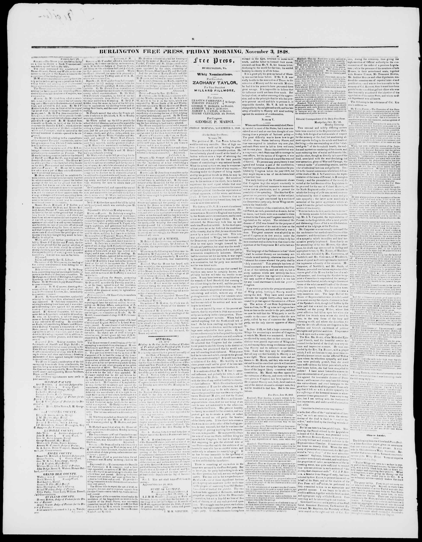 Newspaper of Burlington Free Press dated November 3, 1848 Page 2