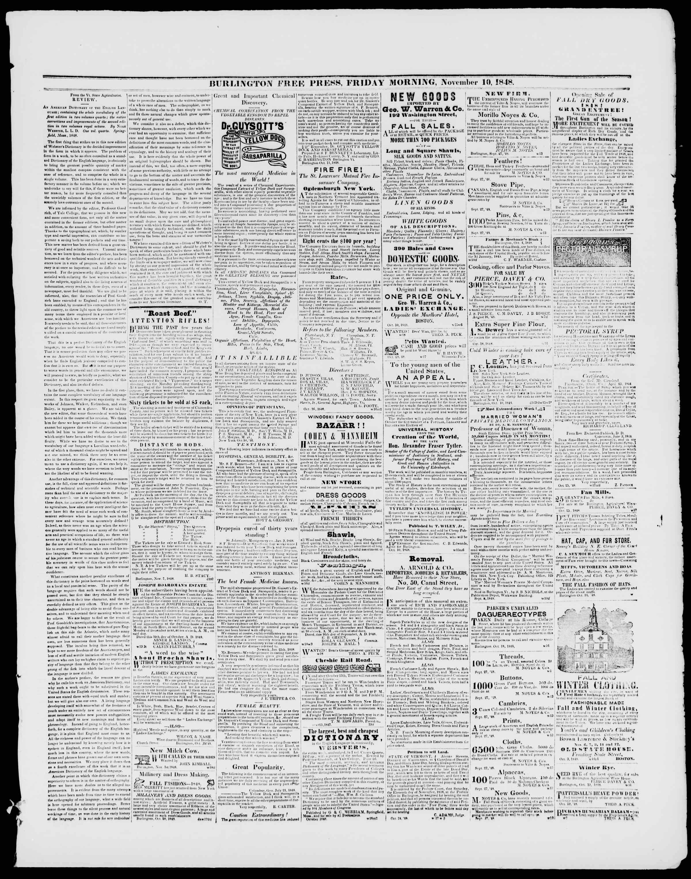 Newspaper of Burlington Free Press dated November 10, 1848 Page 3